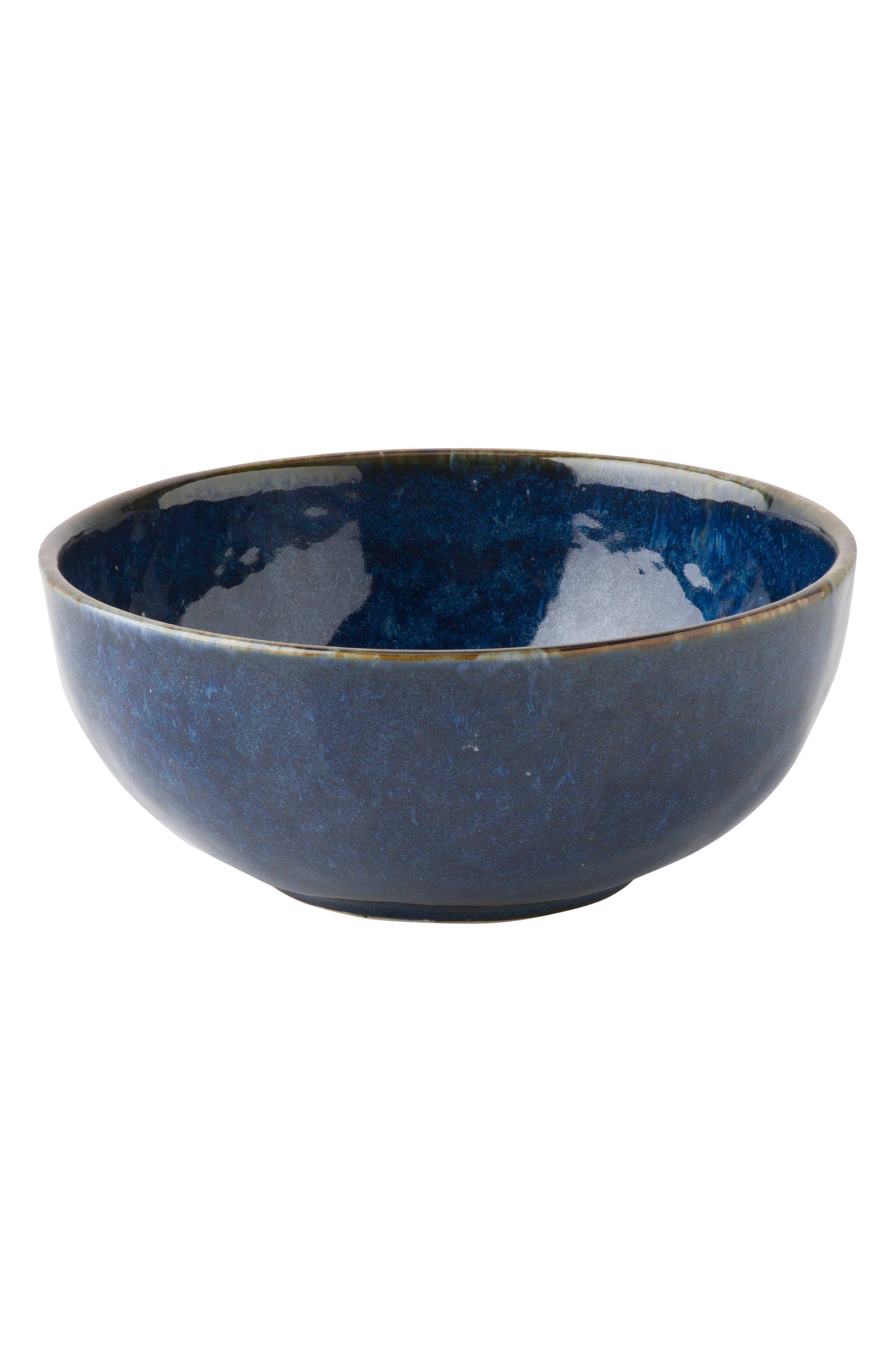 Puro Cobalt Ceramic Bowl,                             Main thumbnail 1, color,                             DAPPLED COBALT