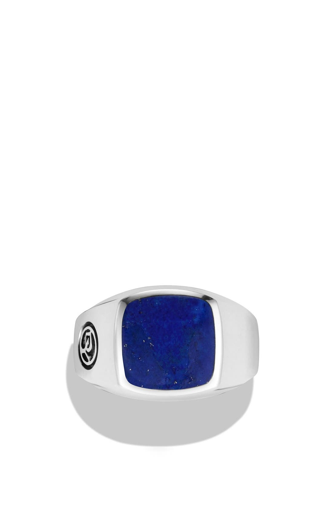 'Exotic Stone' Signet Ring in Silver,                             Alternate thumbnail 2, color,                             LAPIS LAZULI