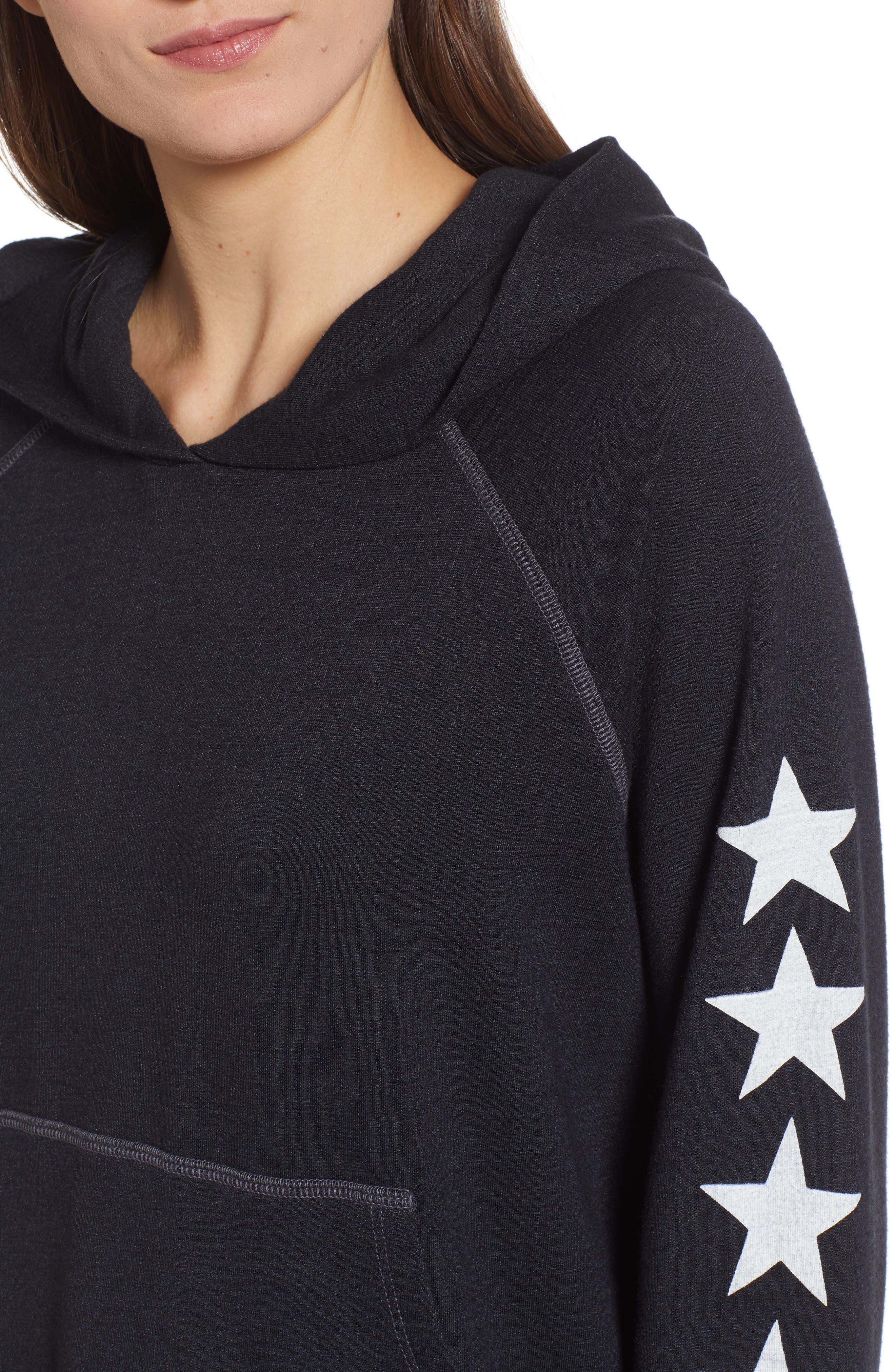 Star Sleeves Crop Hoodie,                             Alternate thumbnail 4, color,                             SOFT BLACK