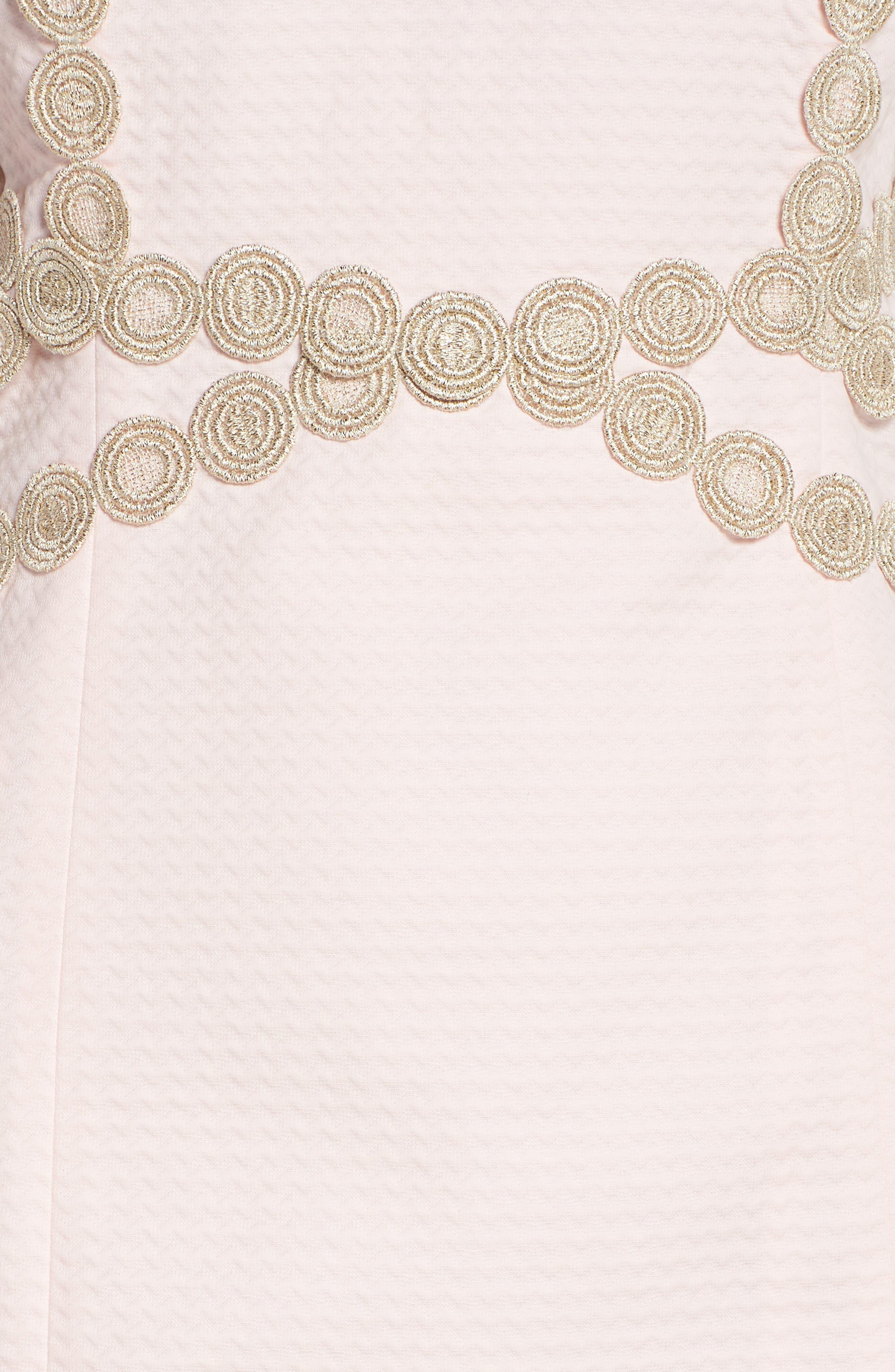 Pearl Shift Dress,                             Alternate thumbnail 5, color,                             PARADISE TINT