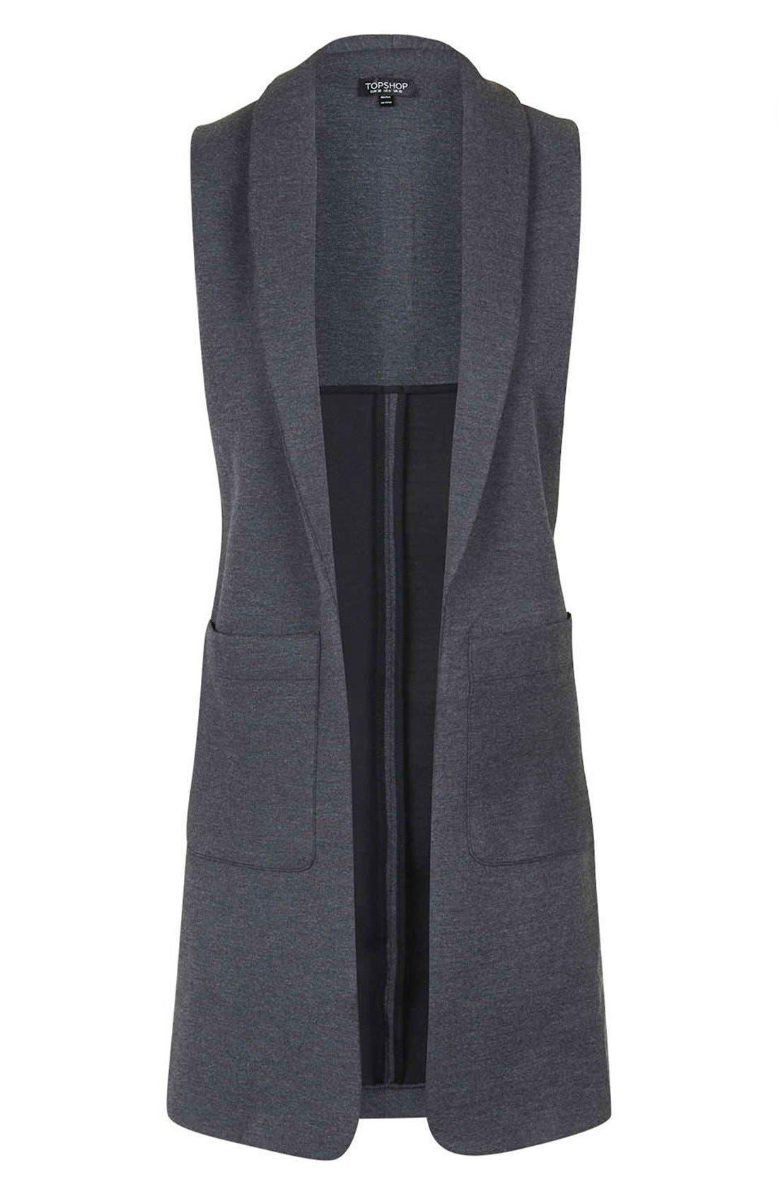 Shawl Collar Longline Vest,                             Alternate thumbnail 6, color,                             021