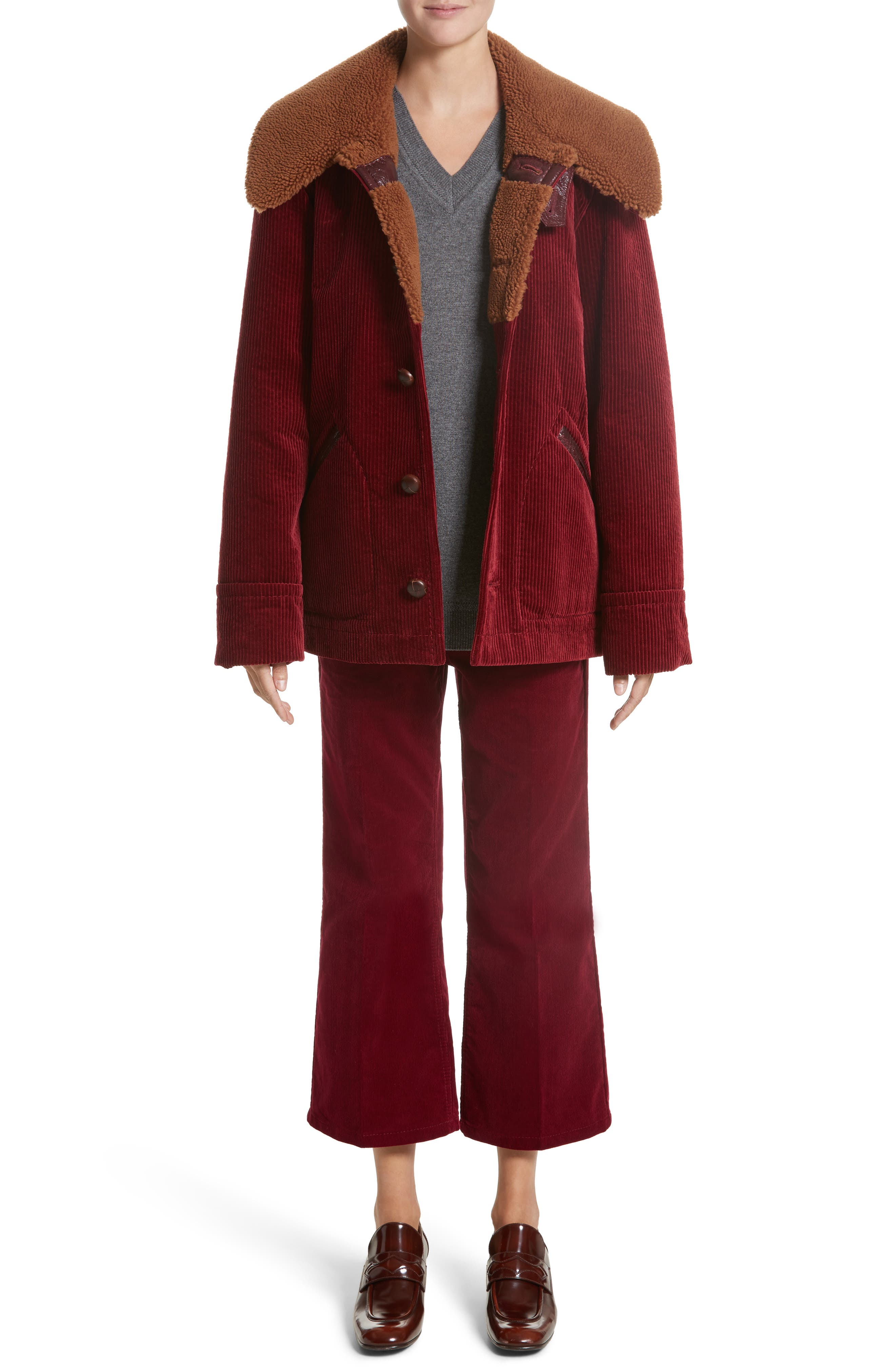 Corduroy Coat with Faux Shearling Collar,                             Alternate thumbnail 7, color,
