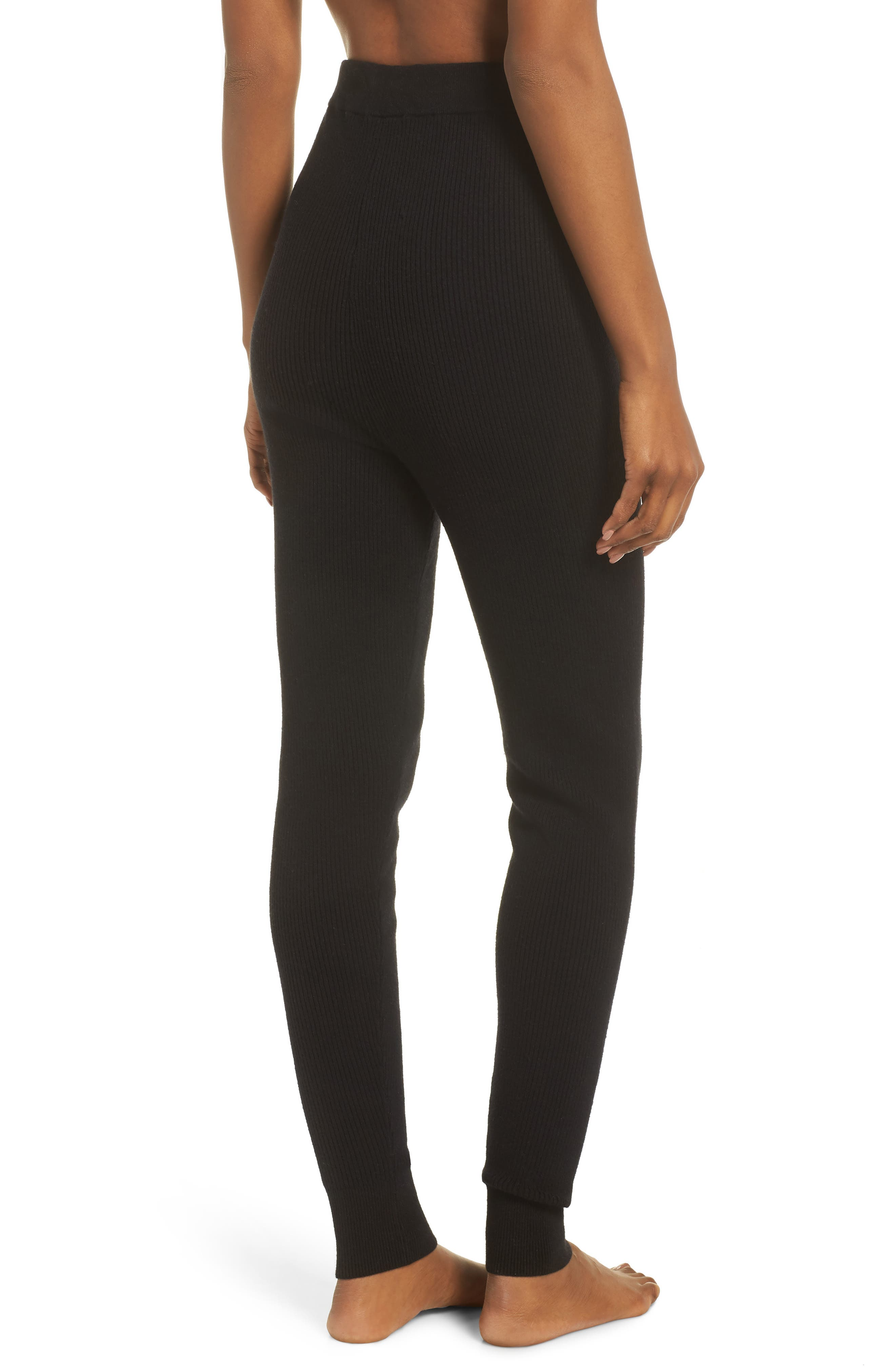 Ribbed Sweater Leggings,                             Alternate thumbnail 2, color,                             BLACK