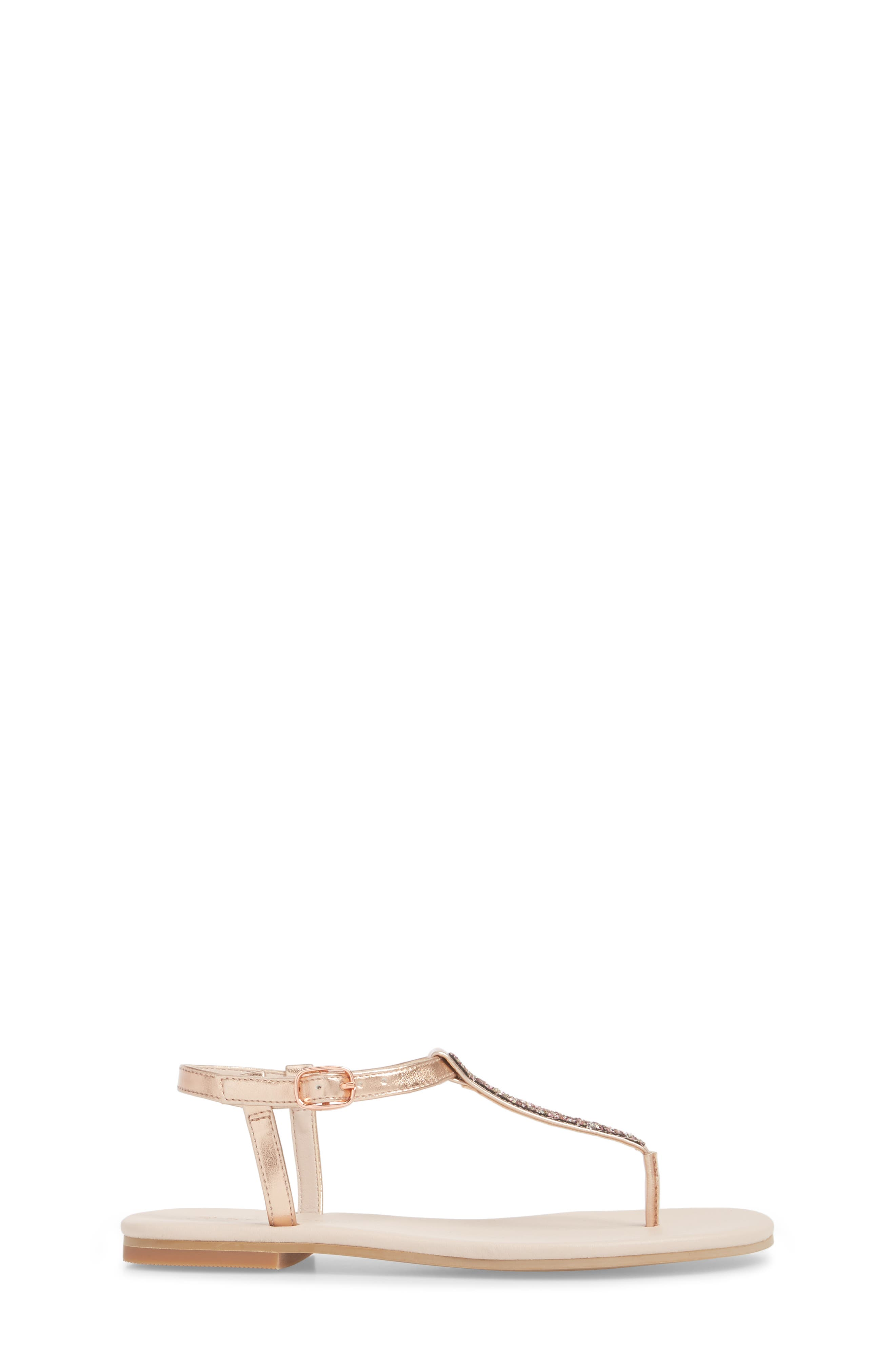 Noe Glitter T-Strap Sandal Sandal,                             Alternate thumbnail 3, color,                             ROSE GOLD FAUX LEA