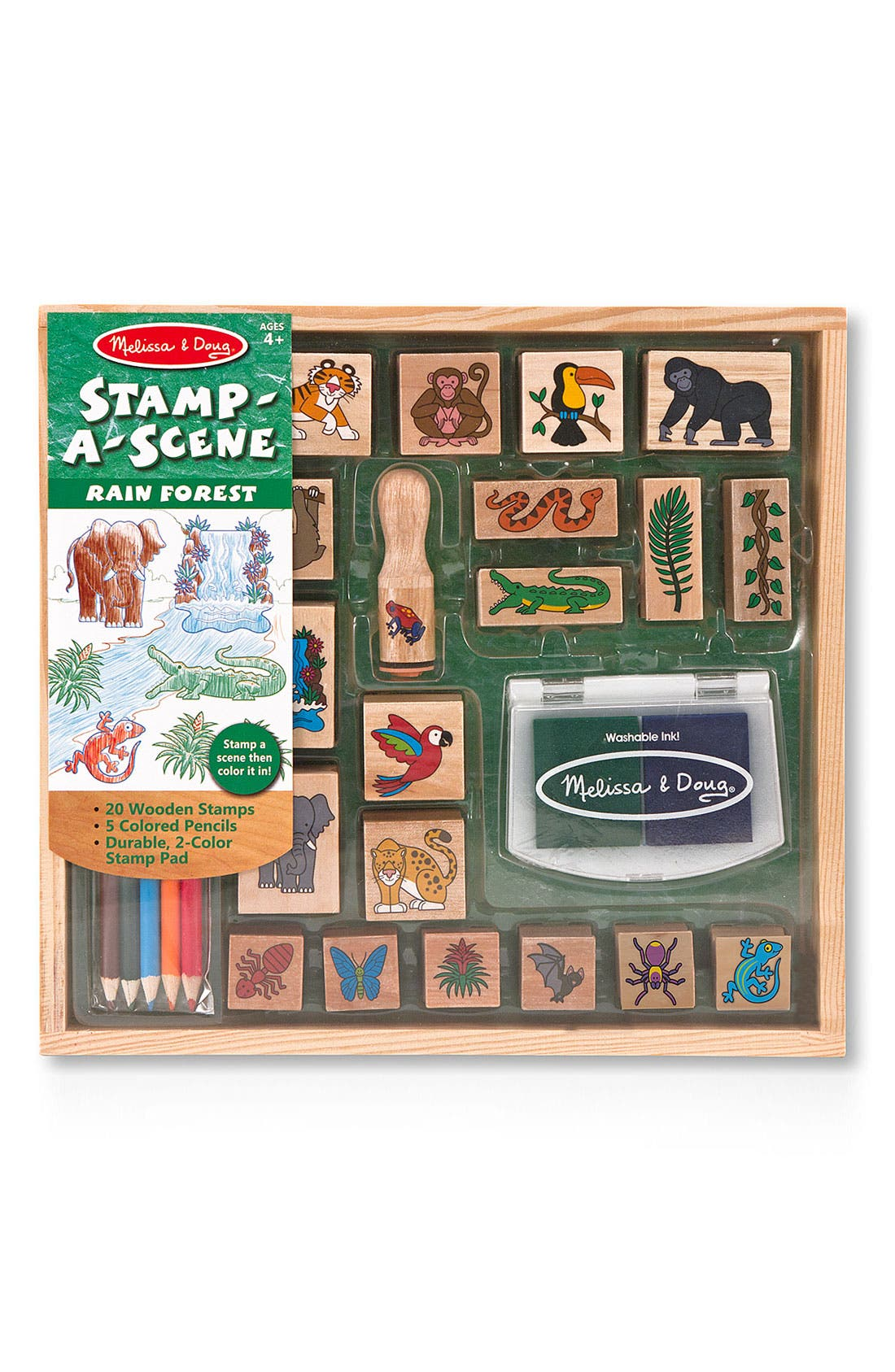 MELISSA & DOUG,                             'Stamp-A-Scene - Rain Forest' Stamp Set,                             Alternate thumbnail 2, color,                             BROWN