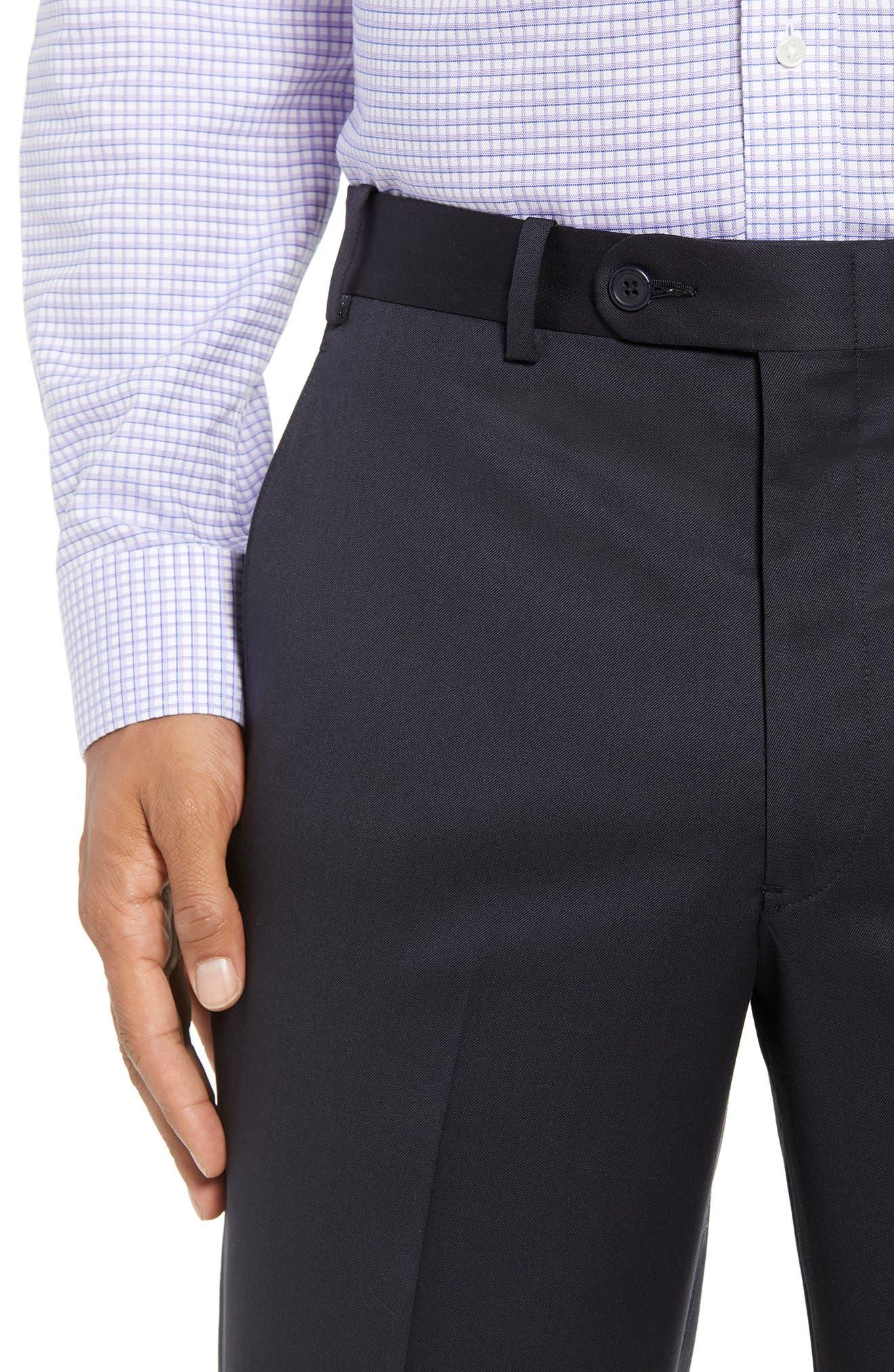 Torino Flat Front Wool Gabardine Trousers,                             Alternate thumbnail 23, color,