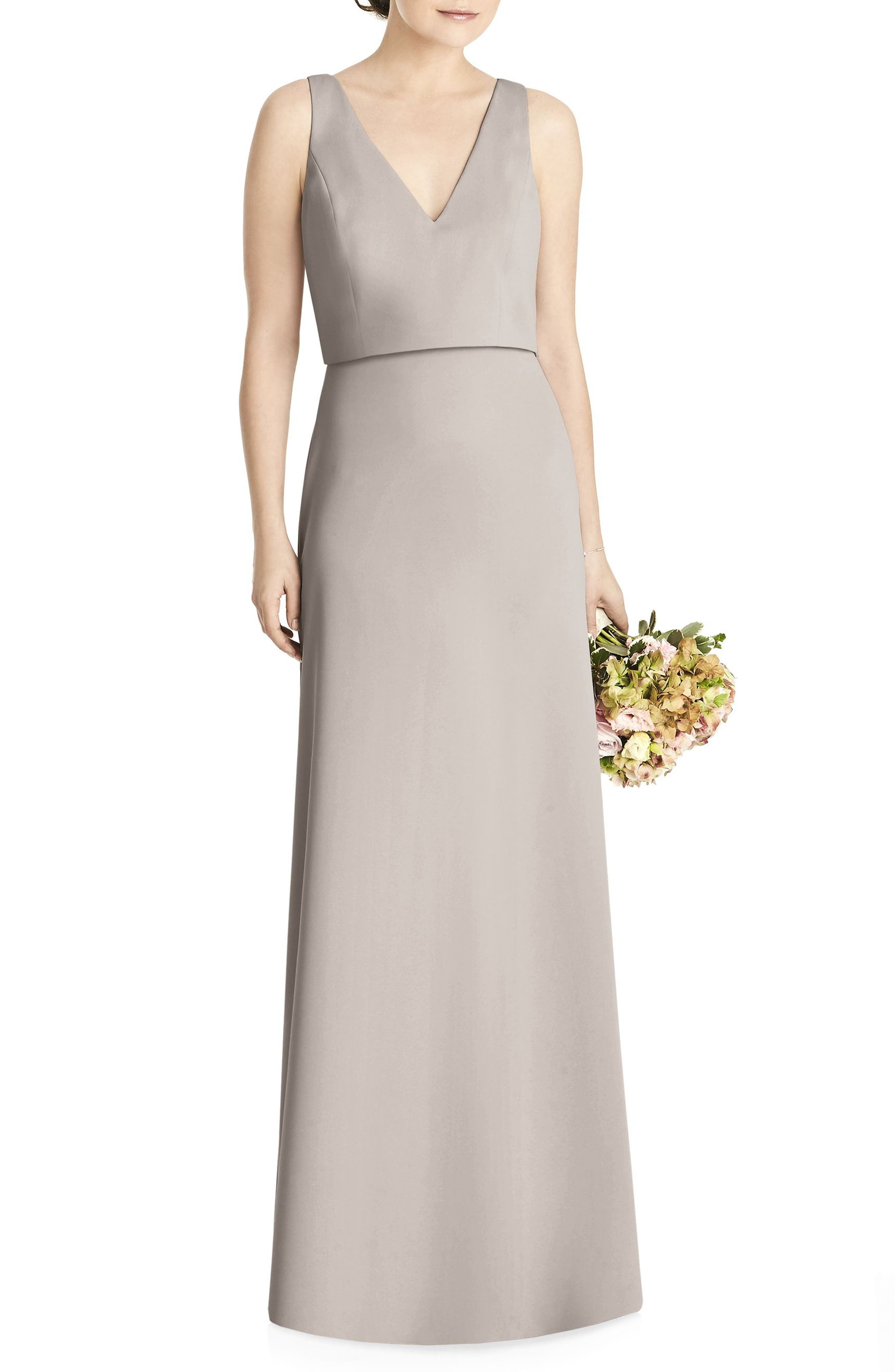 Tie Back Crepe Gown,                             Main thumbnail 1, color,                             TAUPE