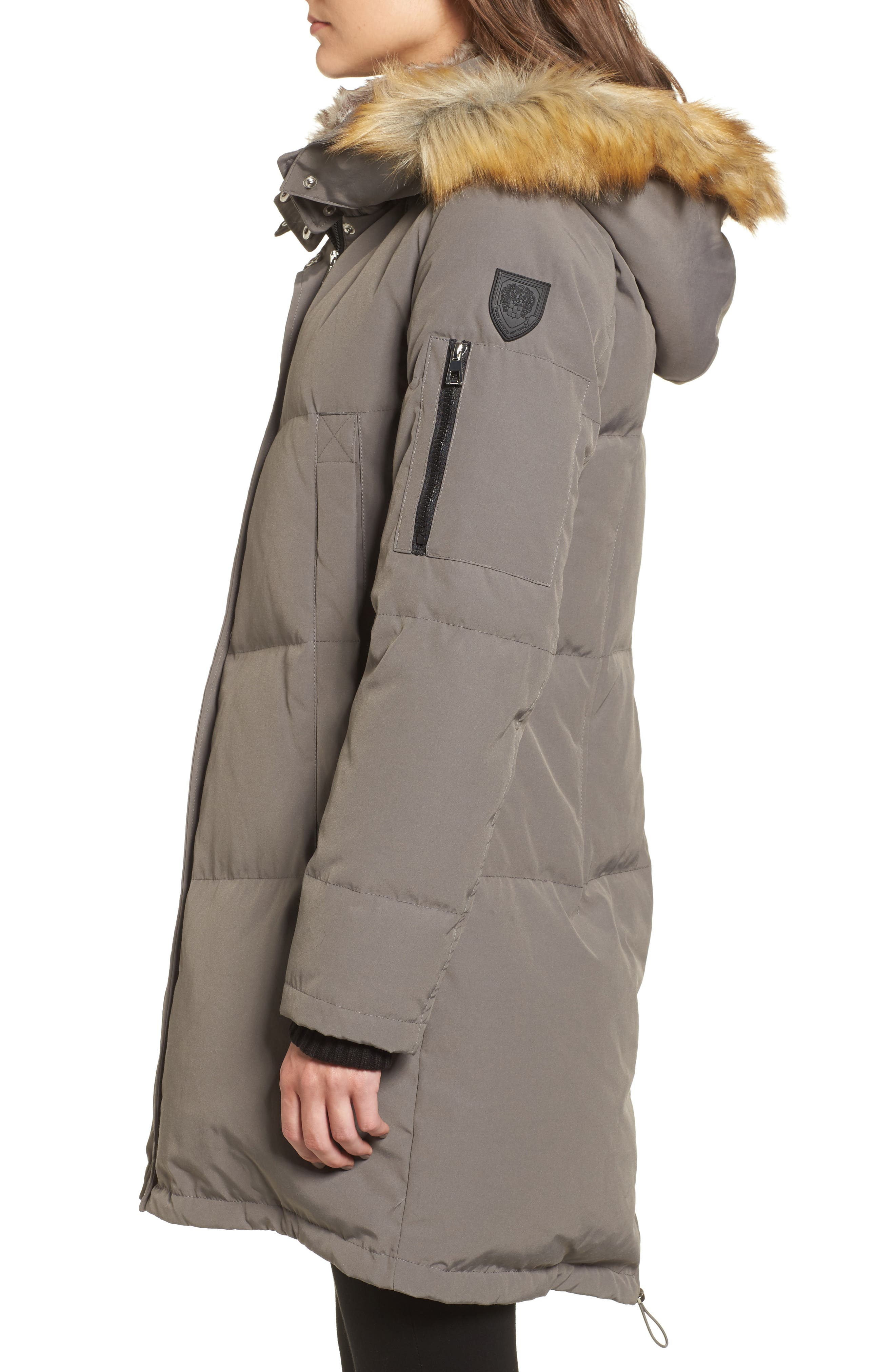 Down & Feather Fill Parka with Faux Fur Trims,                             Alternate thumbnail 3, color,                             020