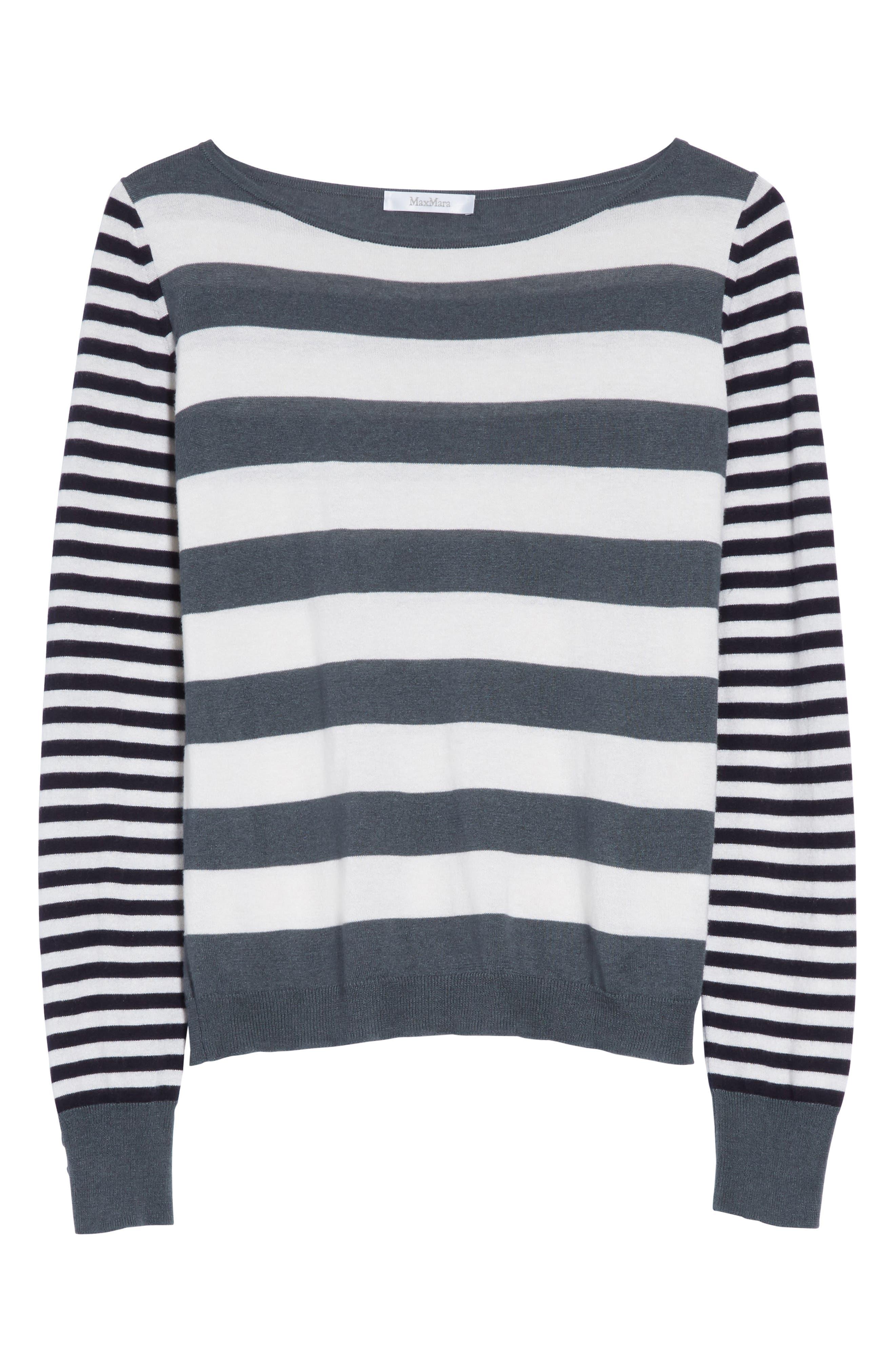 Marica Stripe Silk & Cashmere Sweater,                             Alternate thumbnail 6, color,                             054