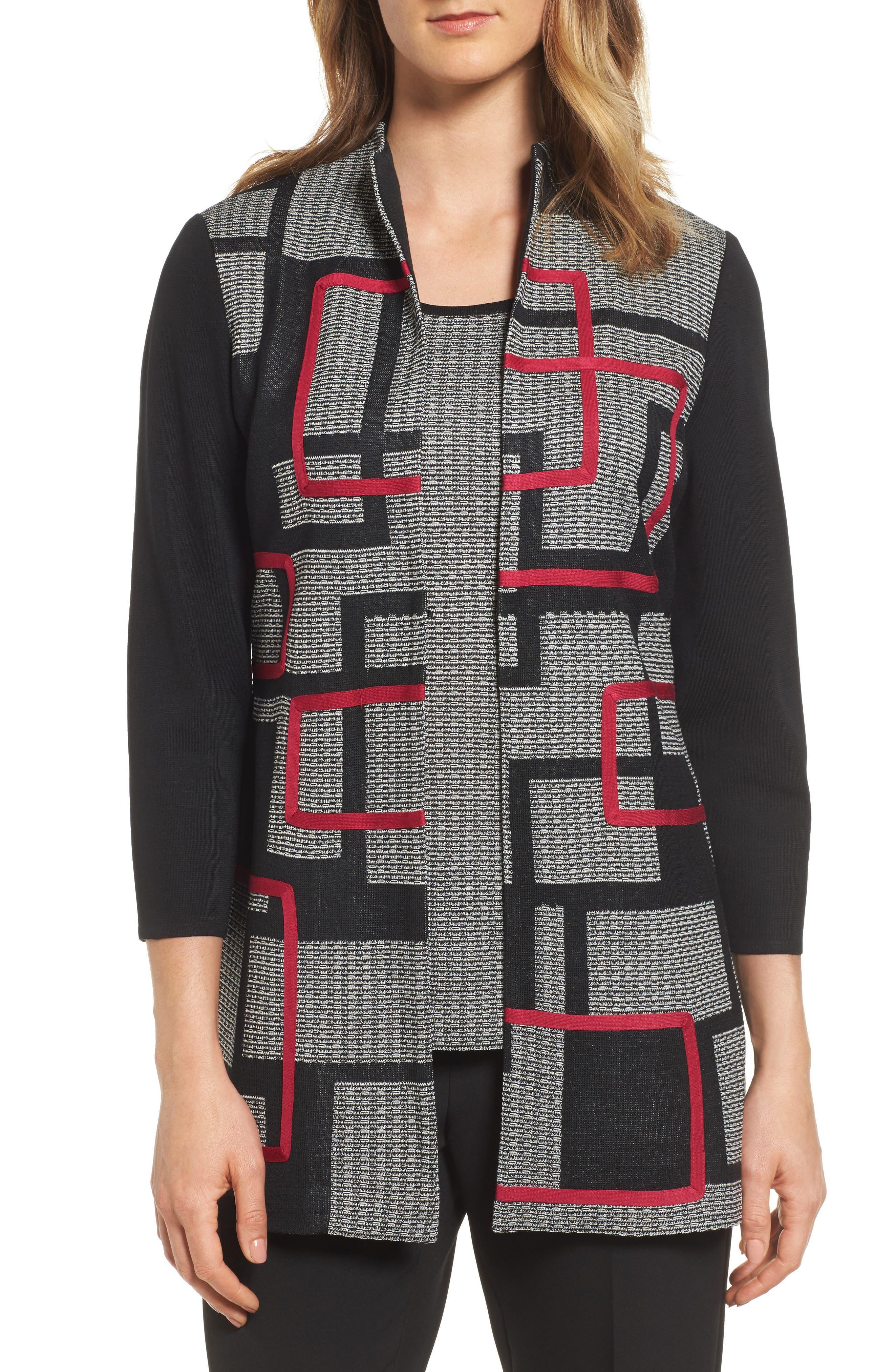 Textured Knit Long Jacket,                             Main thumbnail 1, color,