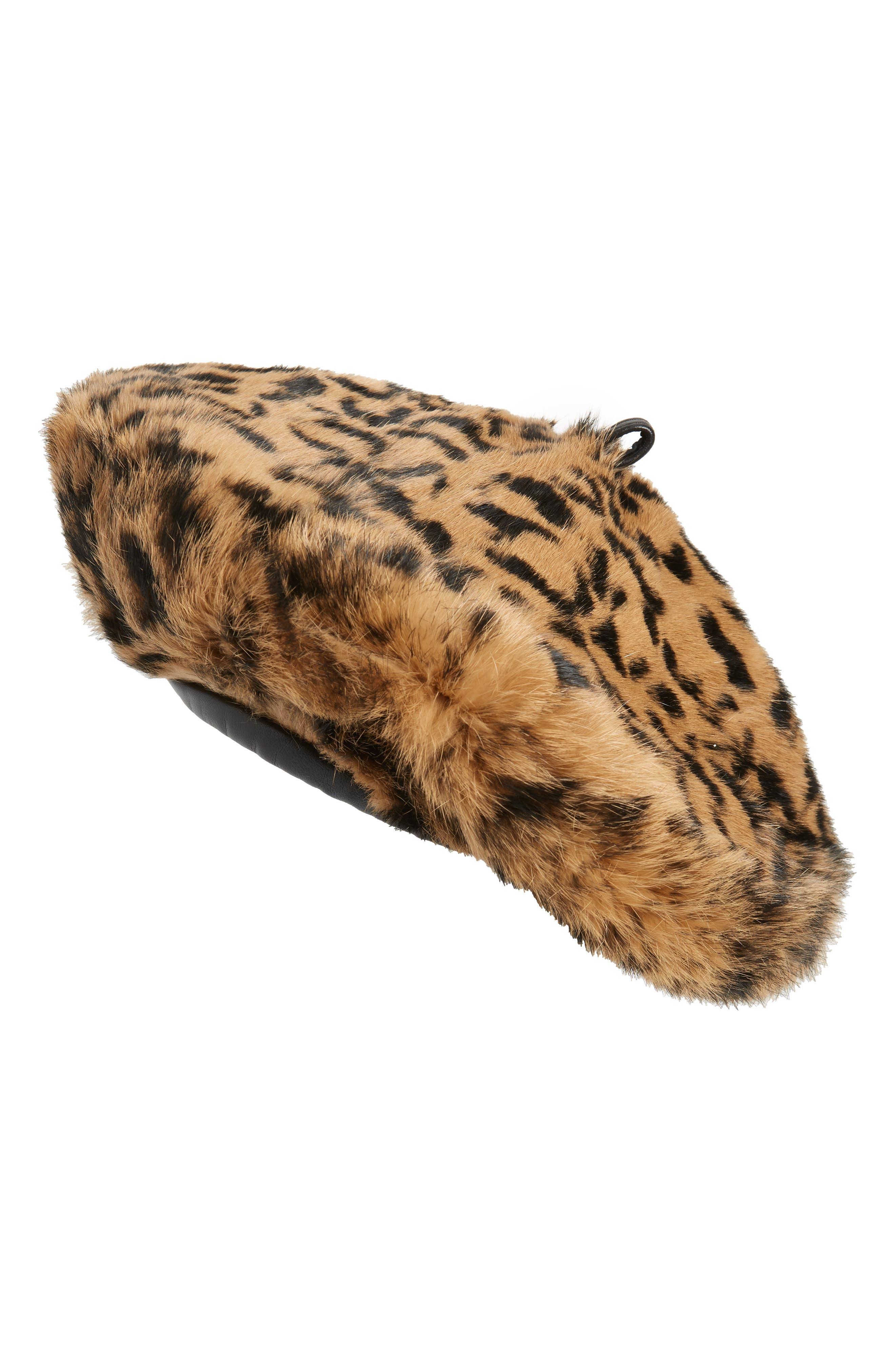 Jag Leopard Print Genuine Rabbit Fur Beret, Main, color, NATURAL