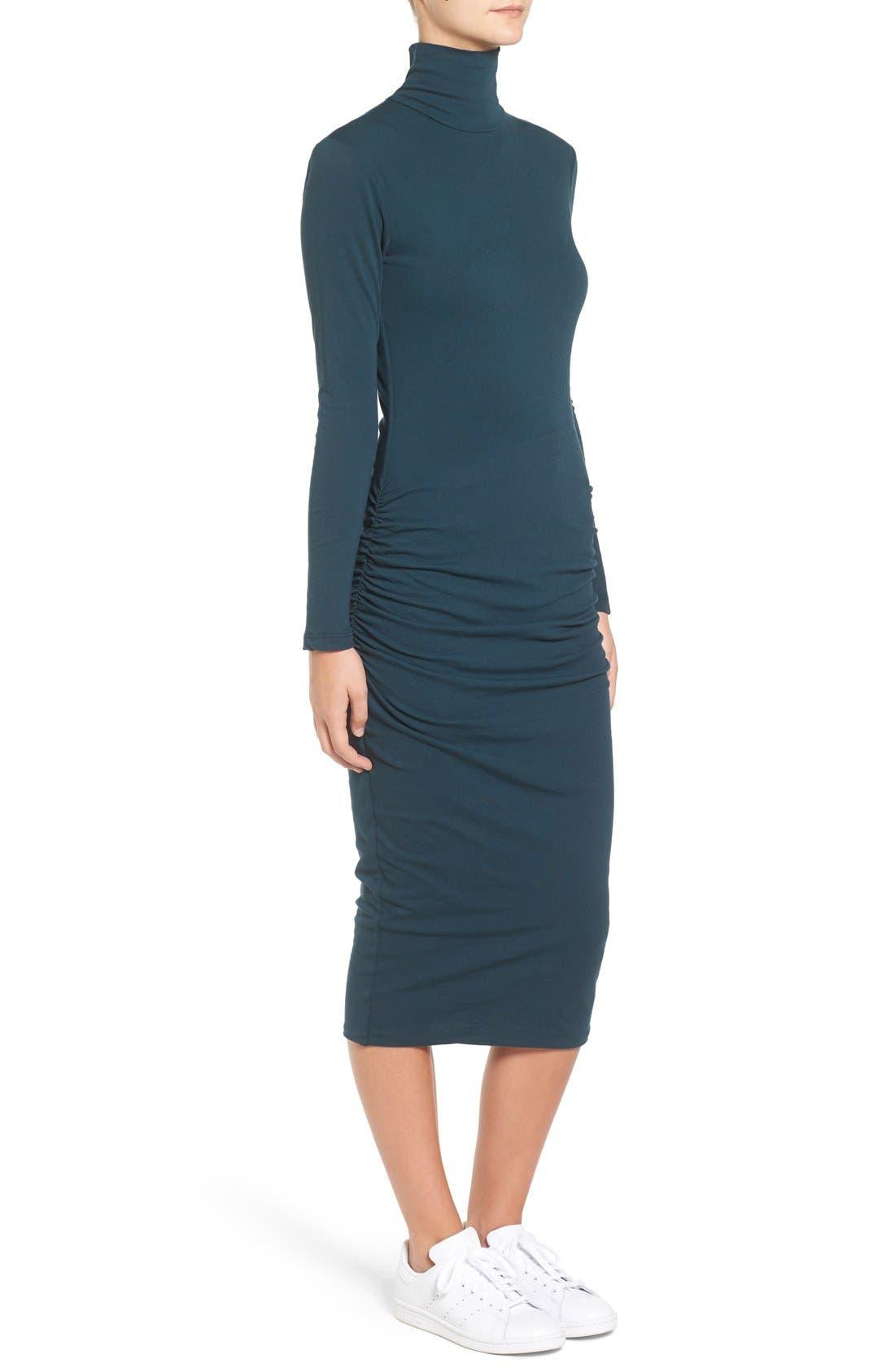 Turtleneck Midi Dress,                             Alternate thumbnail 4, color,