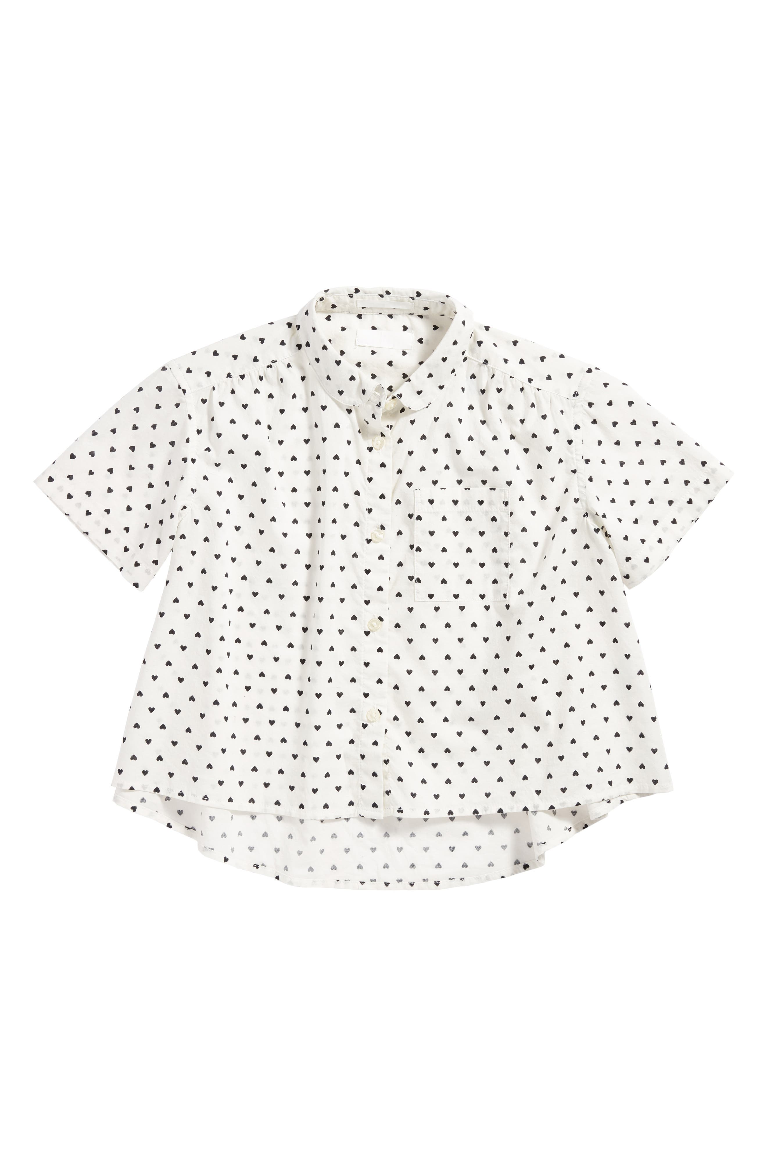 Heart Print Cotton Top,                         Main,                         color, 100