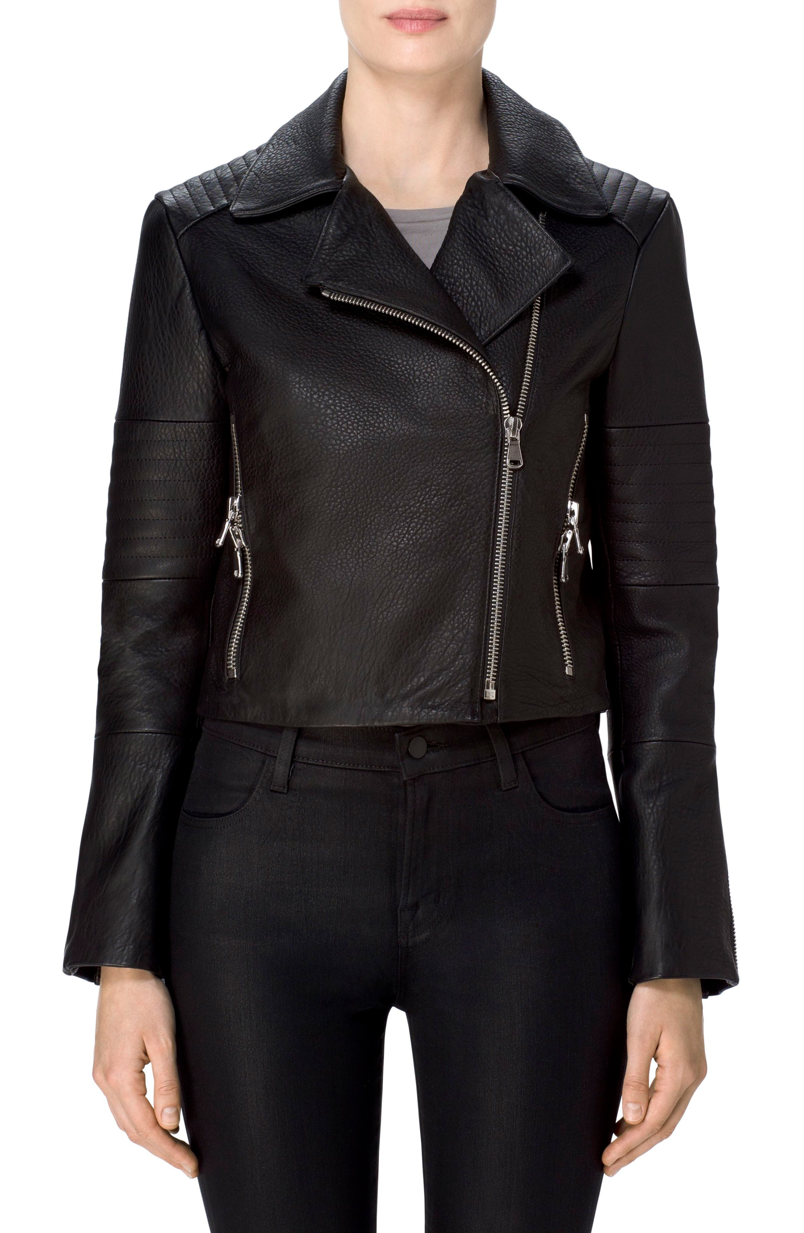 Aiah Leather Moto Jacket,                             Alternate thumbnail 4, color,