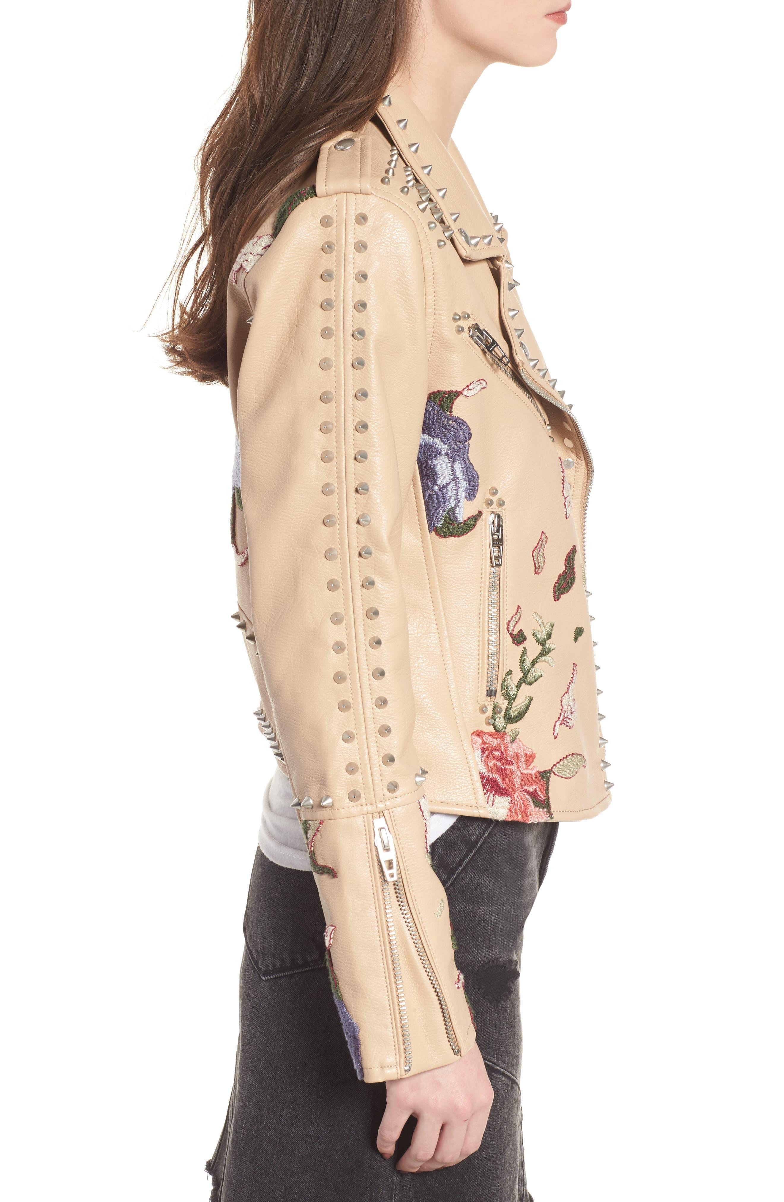 Embellished Faux Leather Moto Jacket,                             Alternate thumbnail 3, color,                             250