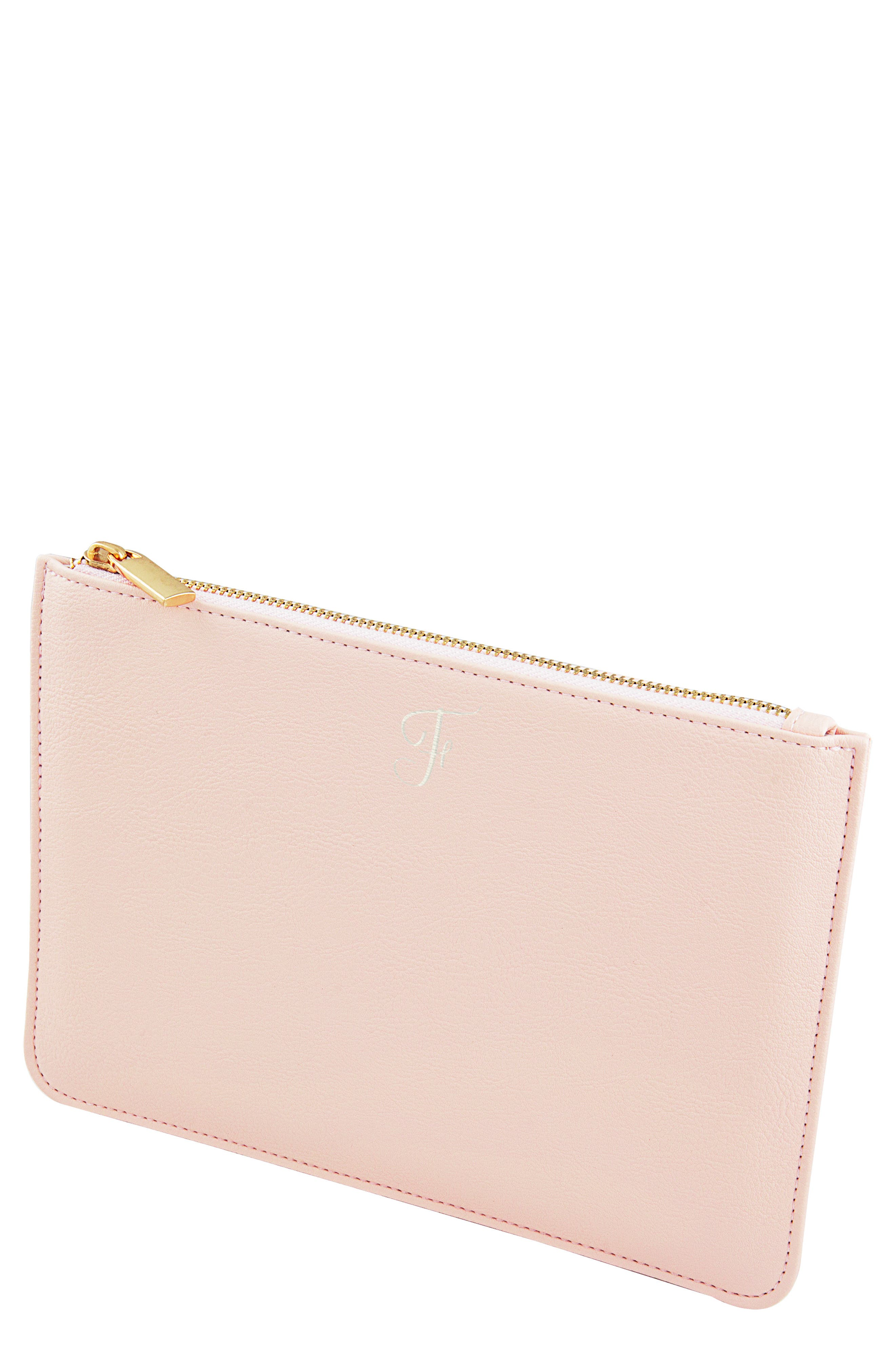 Personalized Faux Leather Pouch,                             Main thumbnail 1, color,                             BLUSH PINK F