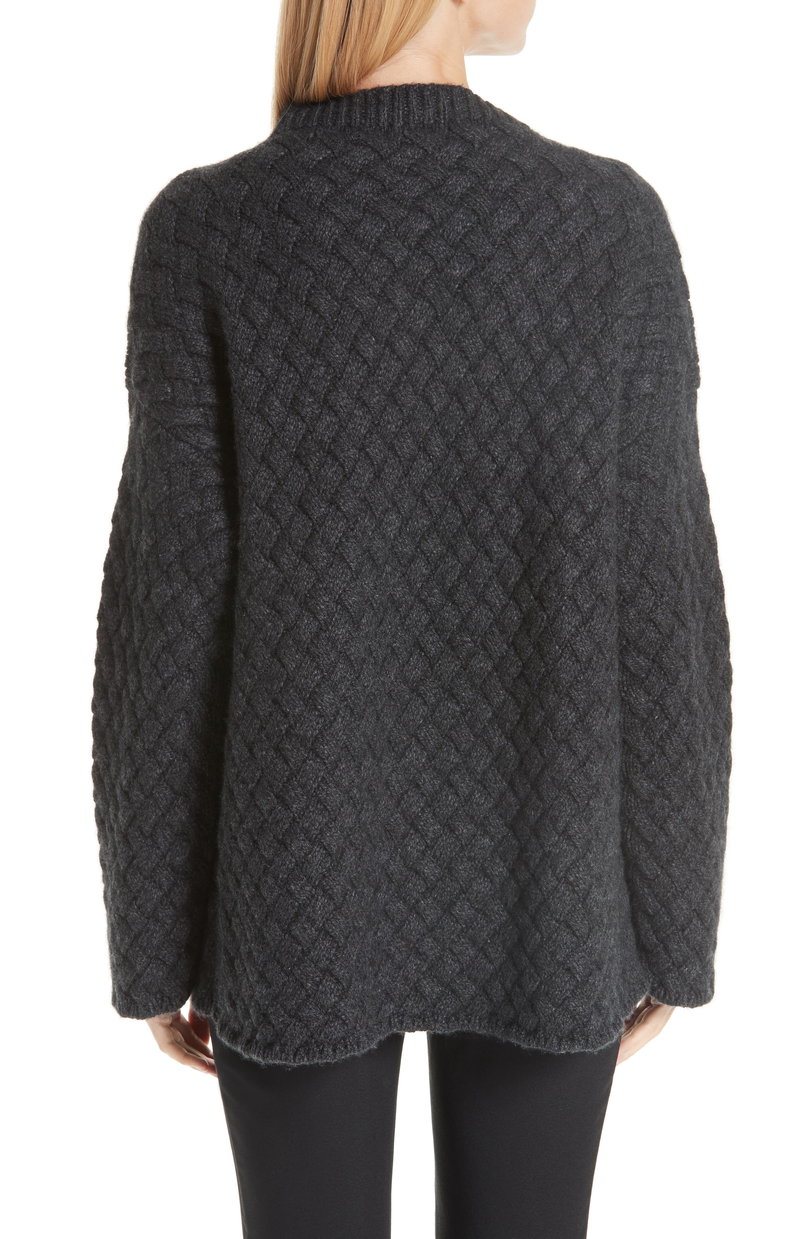 Oversized Braided Cashmere Sweater,                             Alternate thumbnail 2, color,                             DARK GREY