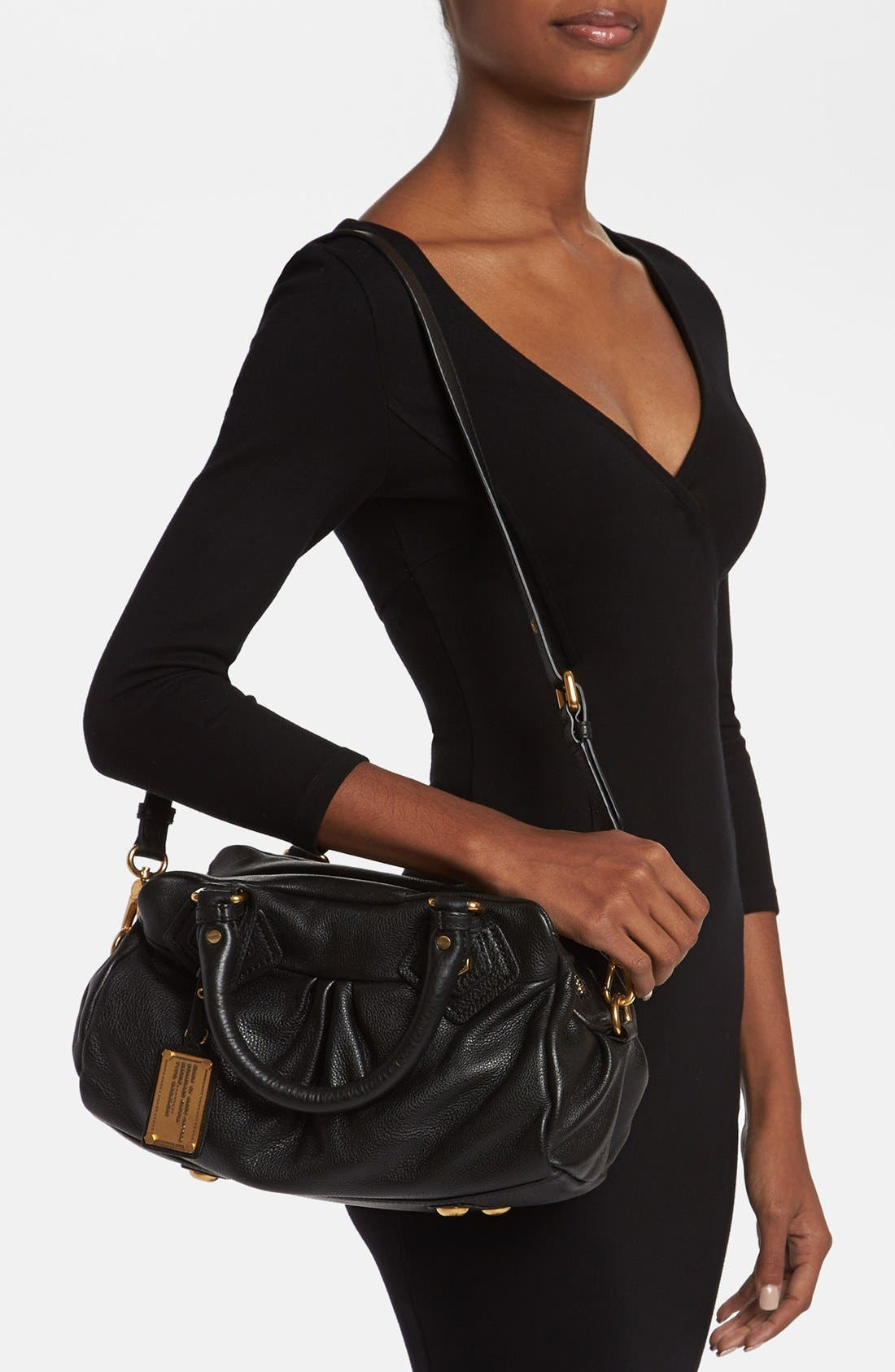 MARC BY MARC JACOBS 'Classic Q - Baby Groovee' Leather Satchel,                             Alternate thumbnail 5, color,                             002