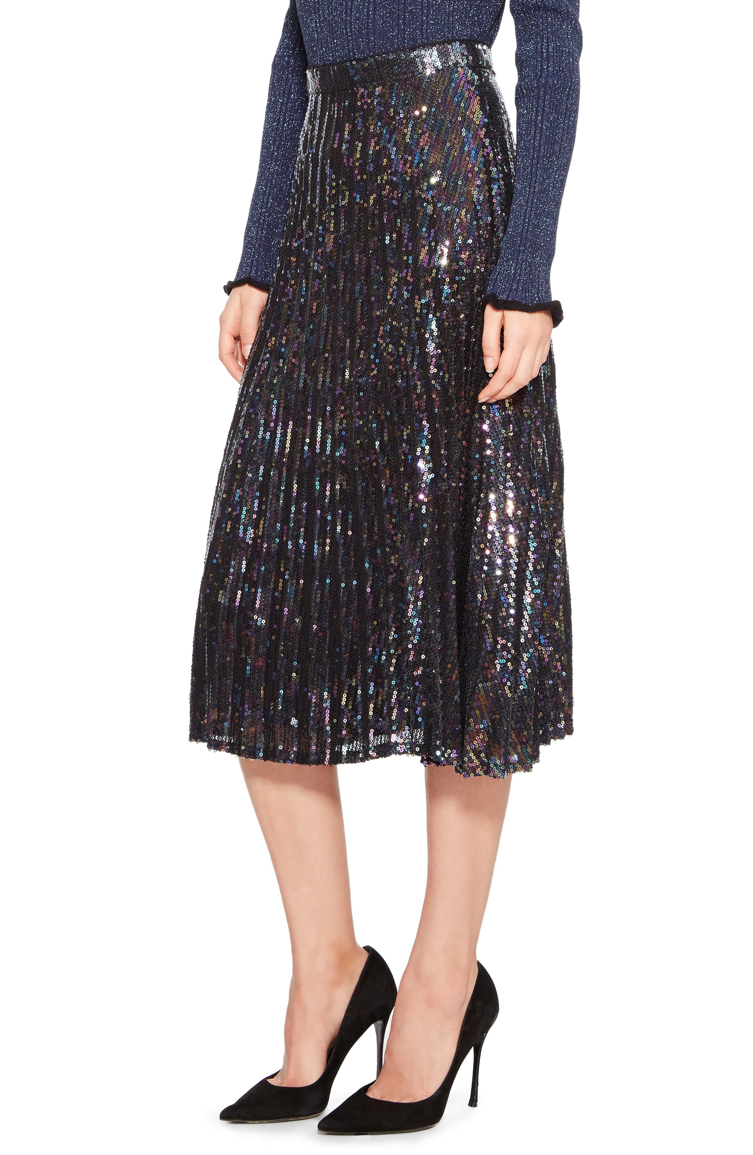 Citrine Sequin Skirt,                             Alternate thumbnail 3, color,                             PETROL