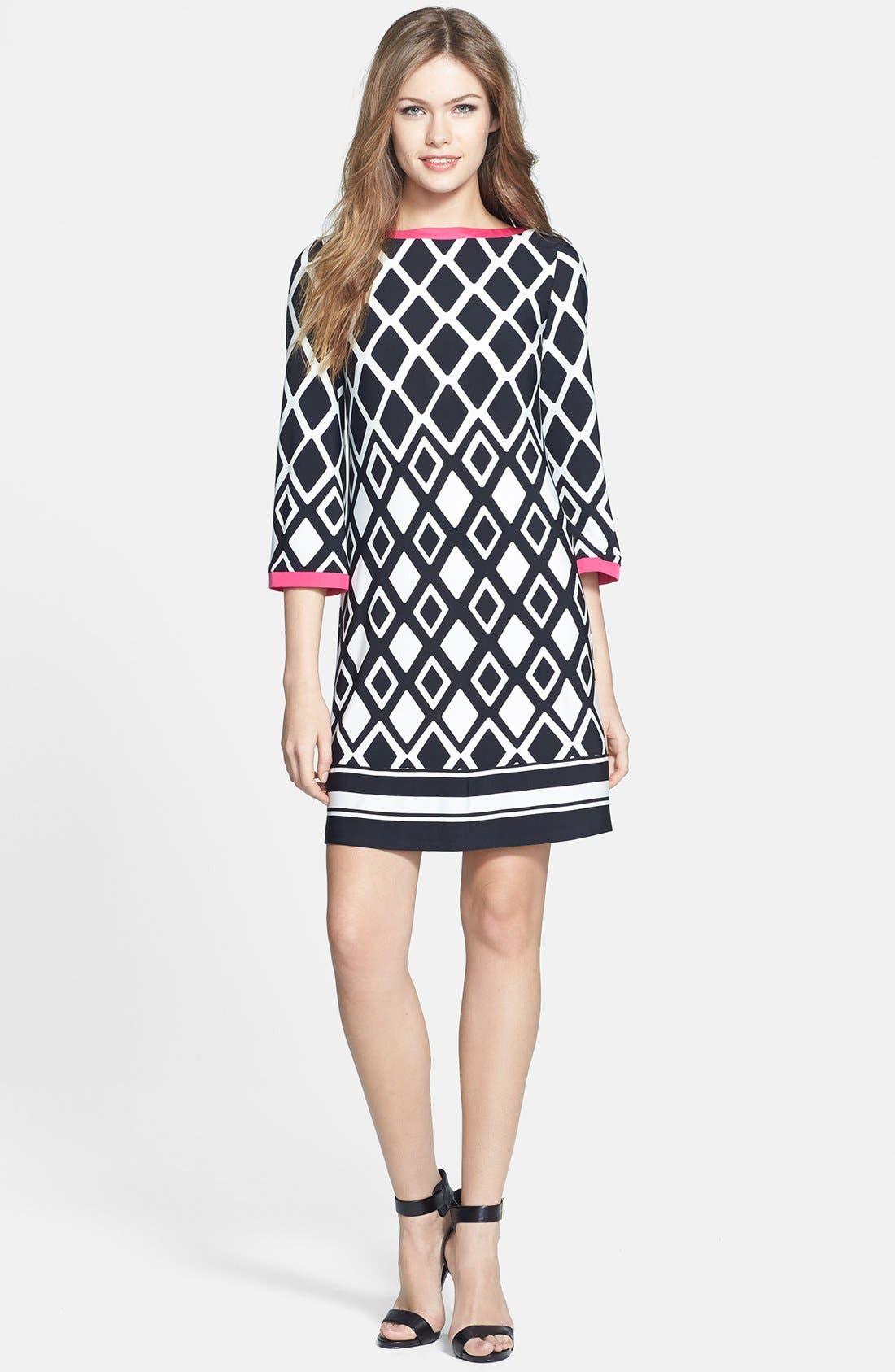 ELIZA J,                             Print Stretch Jersey Shift Dress,                             Alternate thumbnail 3, color,                             001
