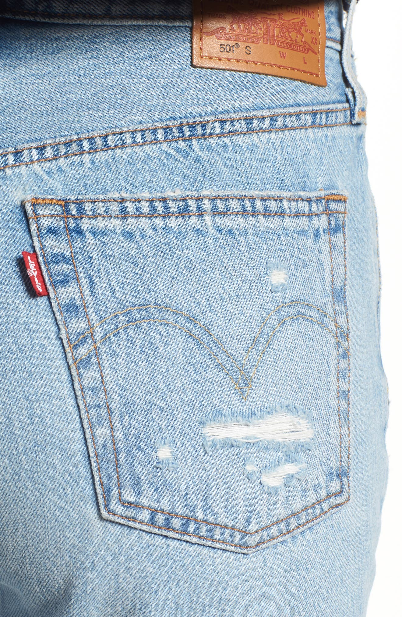 501<sup>®</sup> Ripped High Waist Skinny Jeans,                             Alternate thumbnail 4, color,                             THRASHED