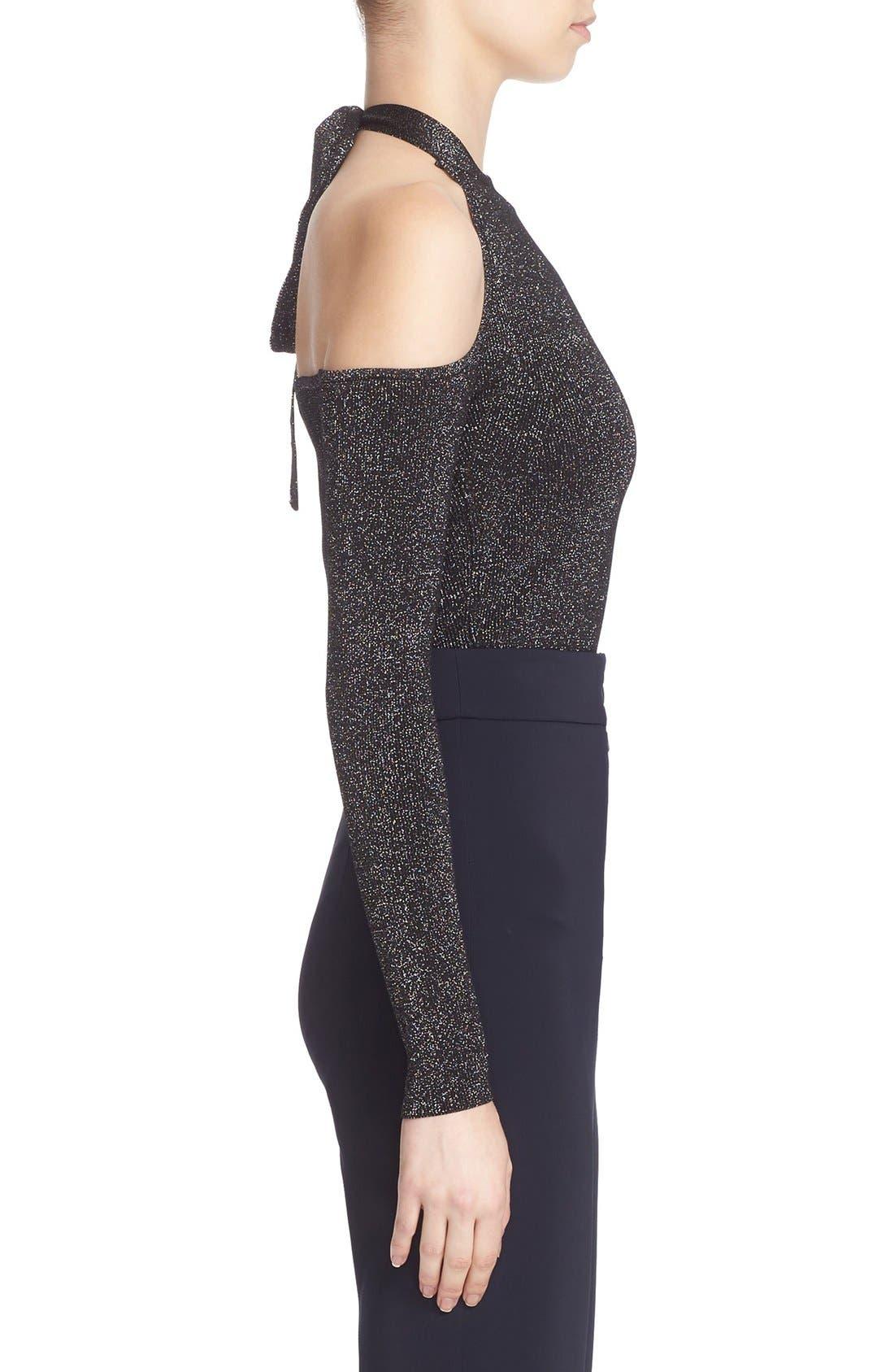 Knit Cold Shoulder Bodysuit,                             Alternate thumbnail 8, color,                             001