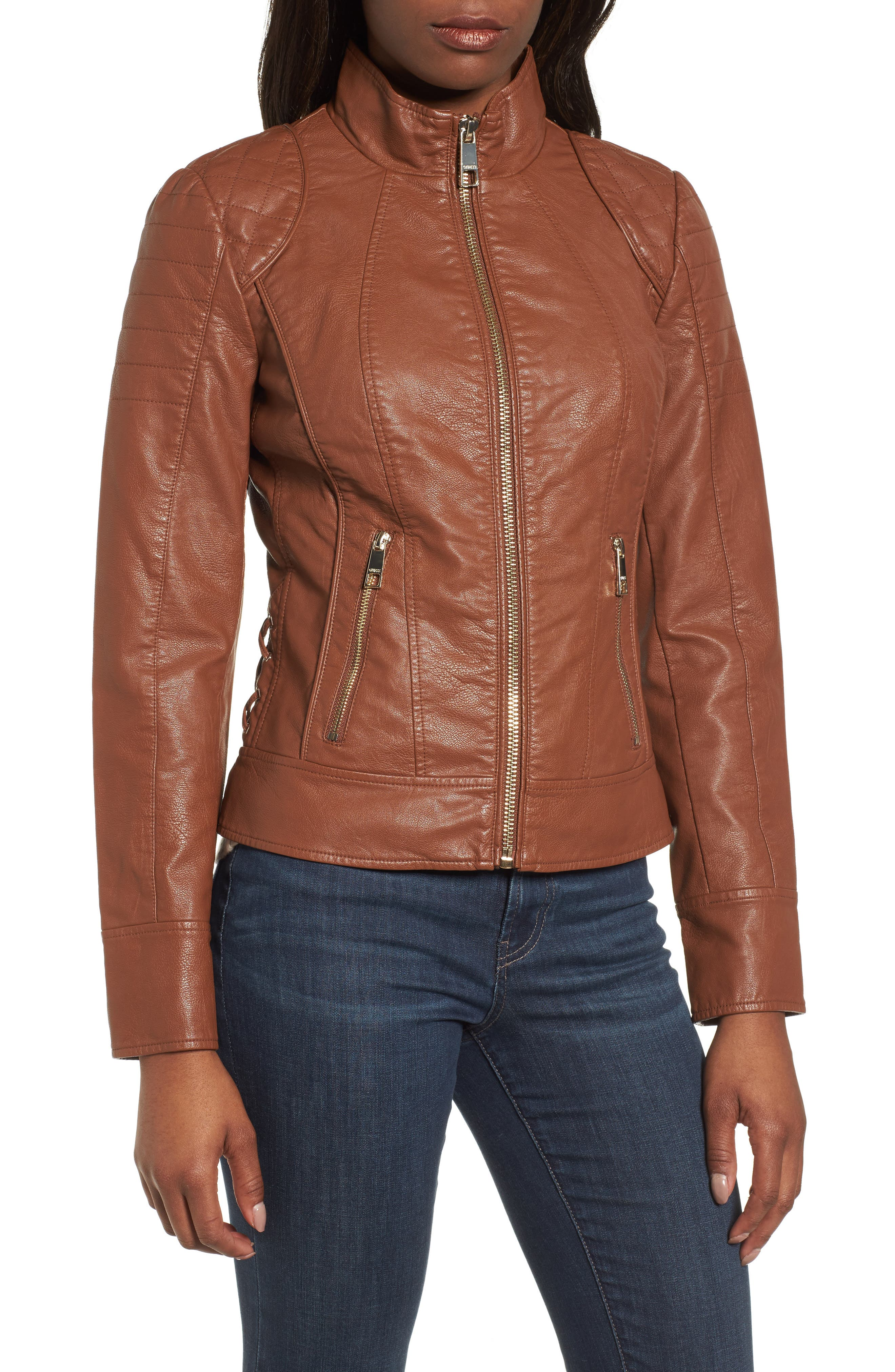 Side Lace Faux Leather Jacket,                             Alternate thumbnail 9, color,