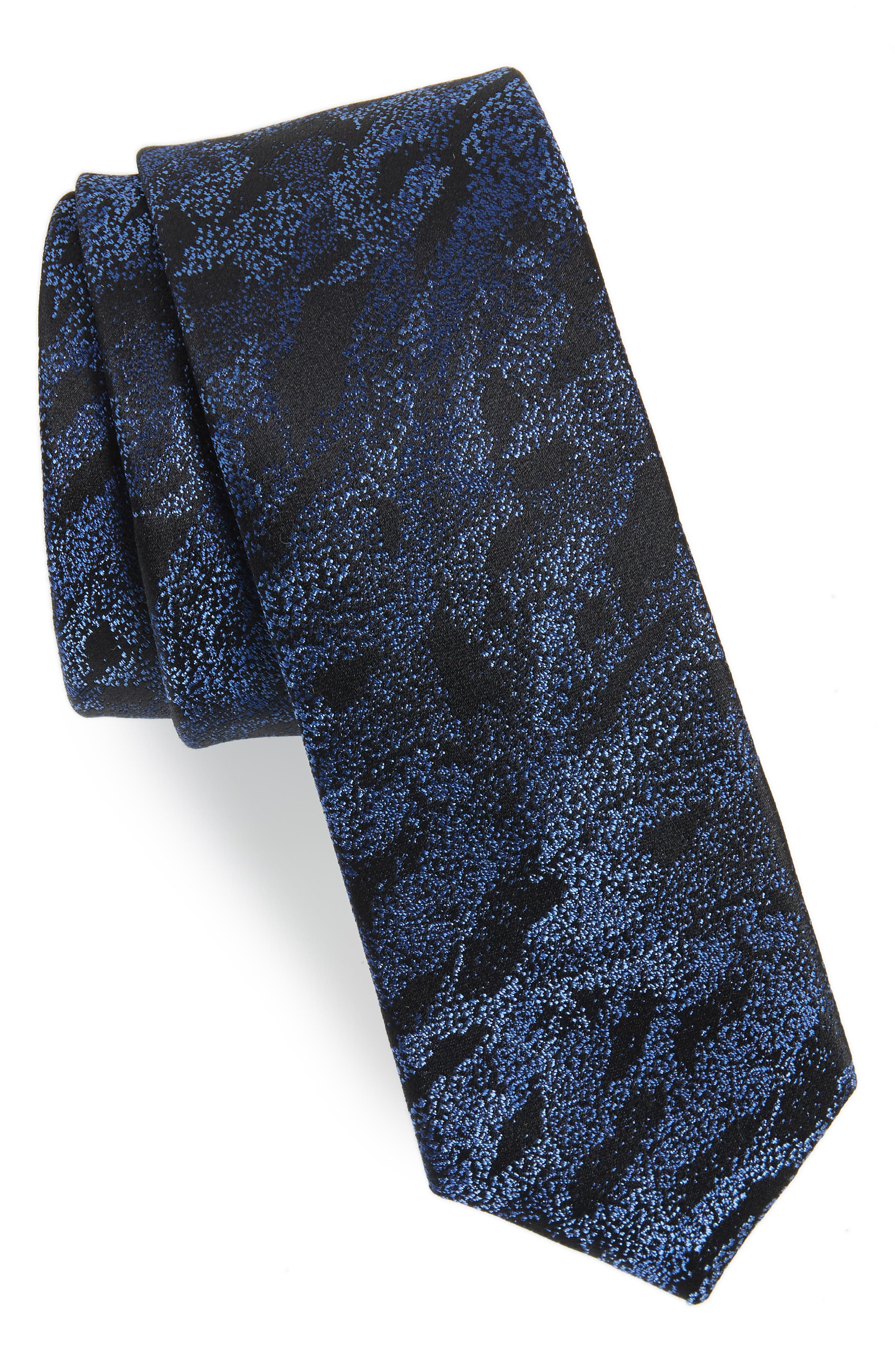 Gypsum Camo Silk Tie,                         Main,                         color, NAVY