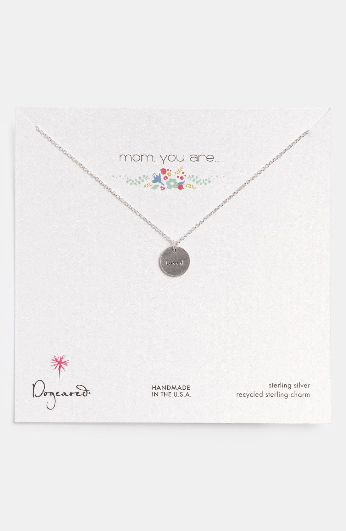 DOGEARED 'Mom, You Are Loved' Pendant Necklace, Main, color, 040