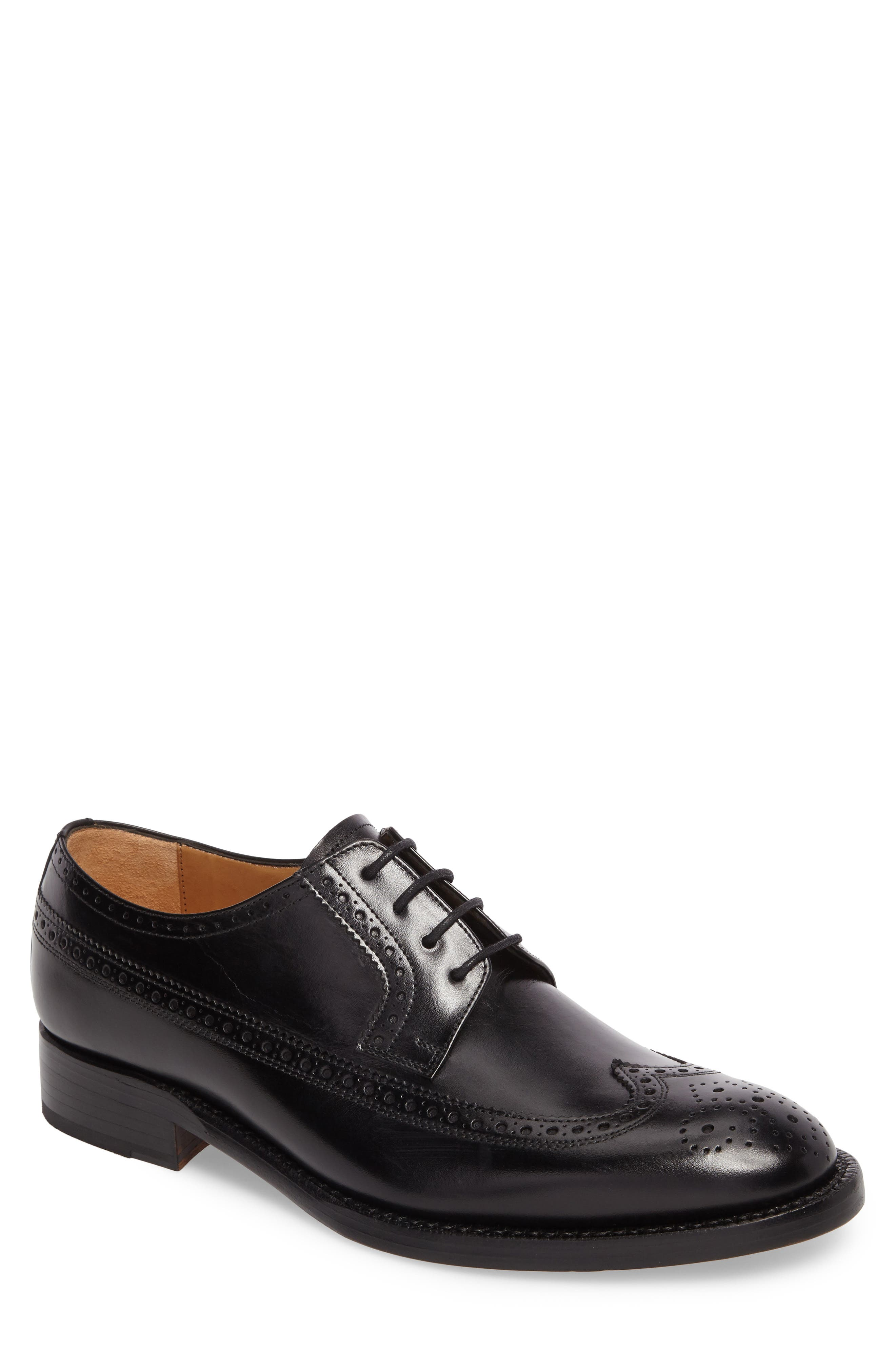 Hubert Longwing Derby,                         Main,                         color, BLACK LEATHER