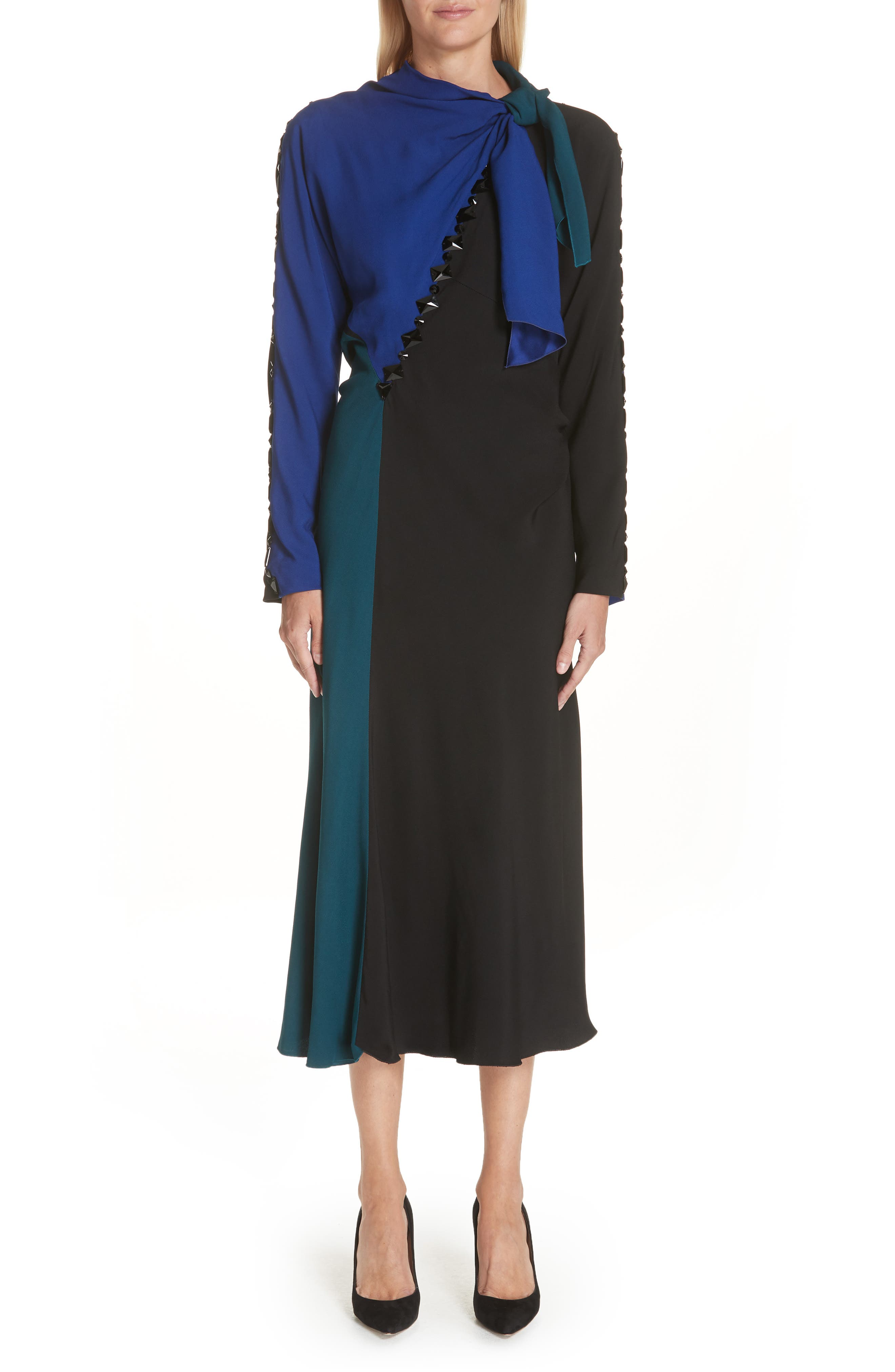 Marc Jacobs Tie Neck Colorblock Dress, Black