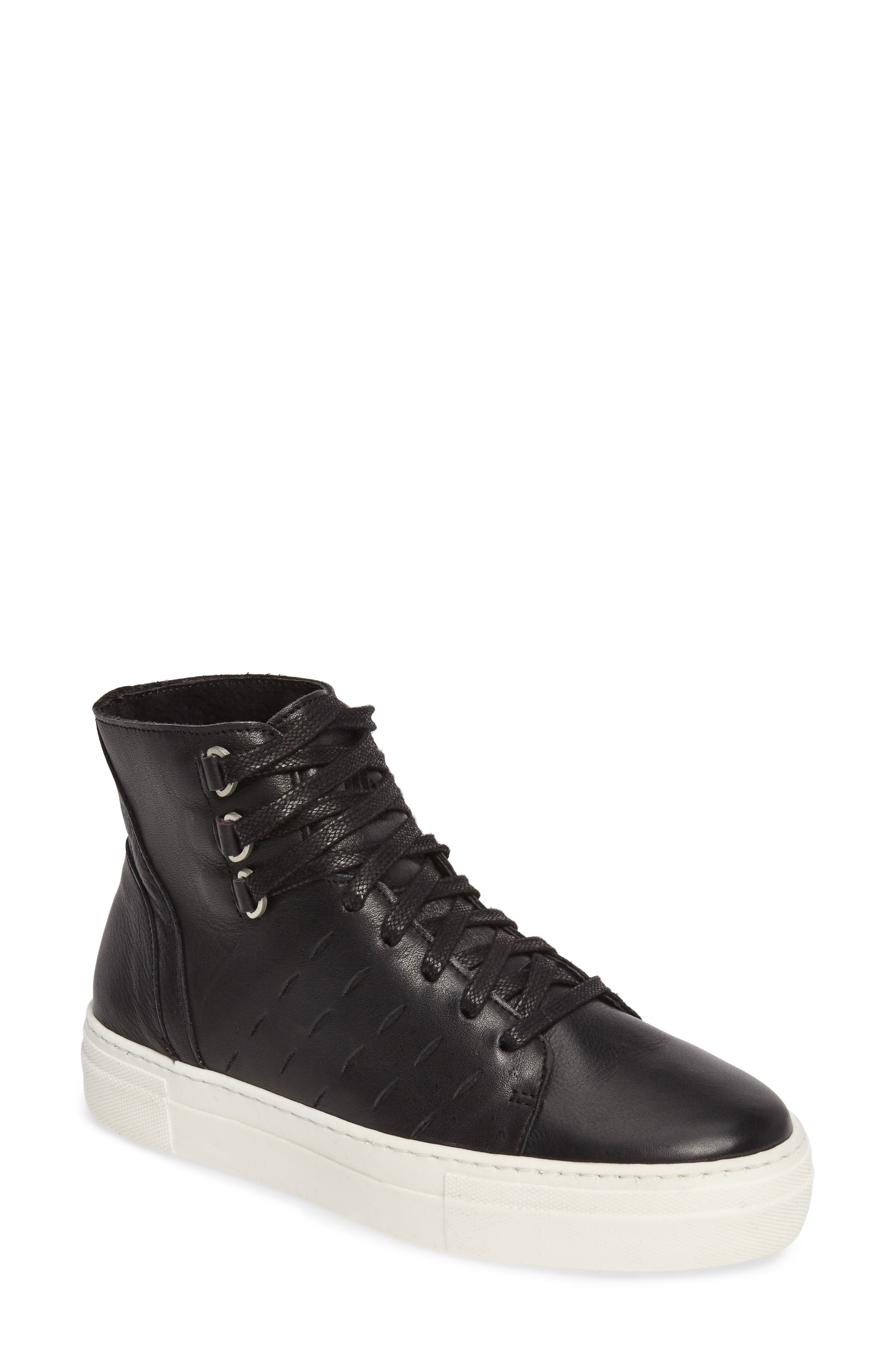 Modern High Top Sneaker,                         Main,                         color, BLACK/ OFF WHITE