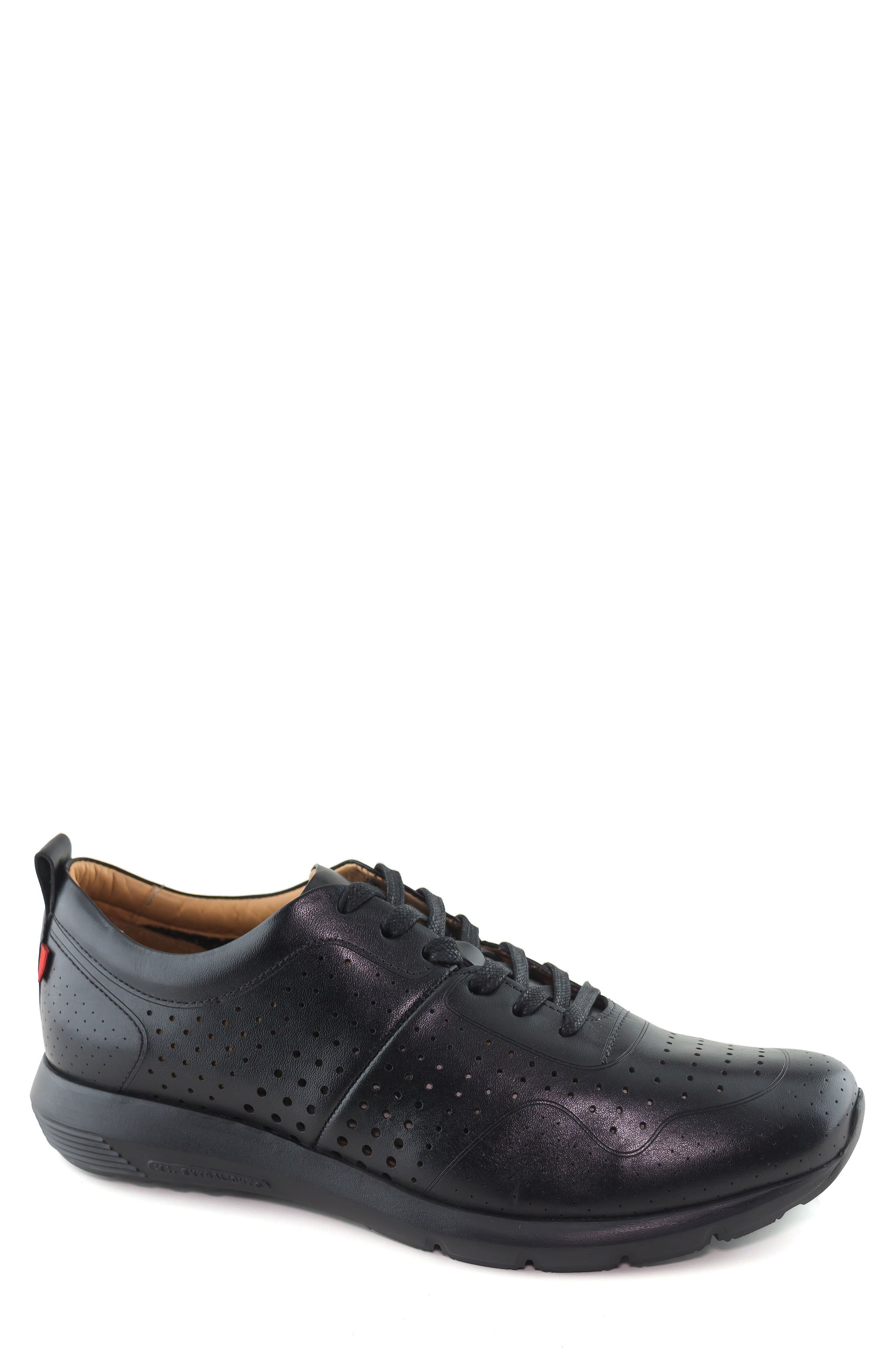 Grand Central Perforated Sneaker, Main, color, BLACK