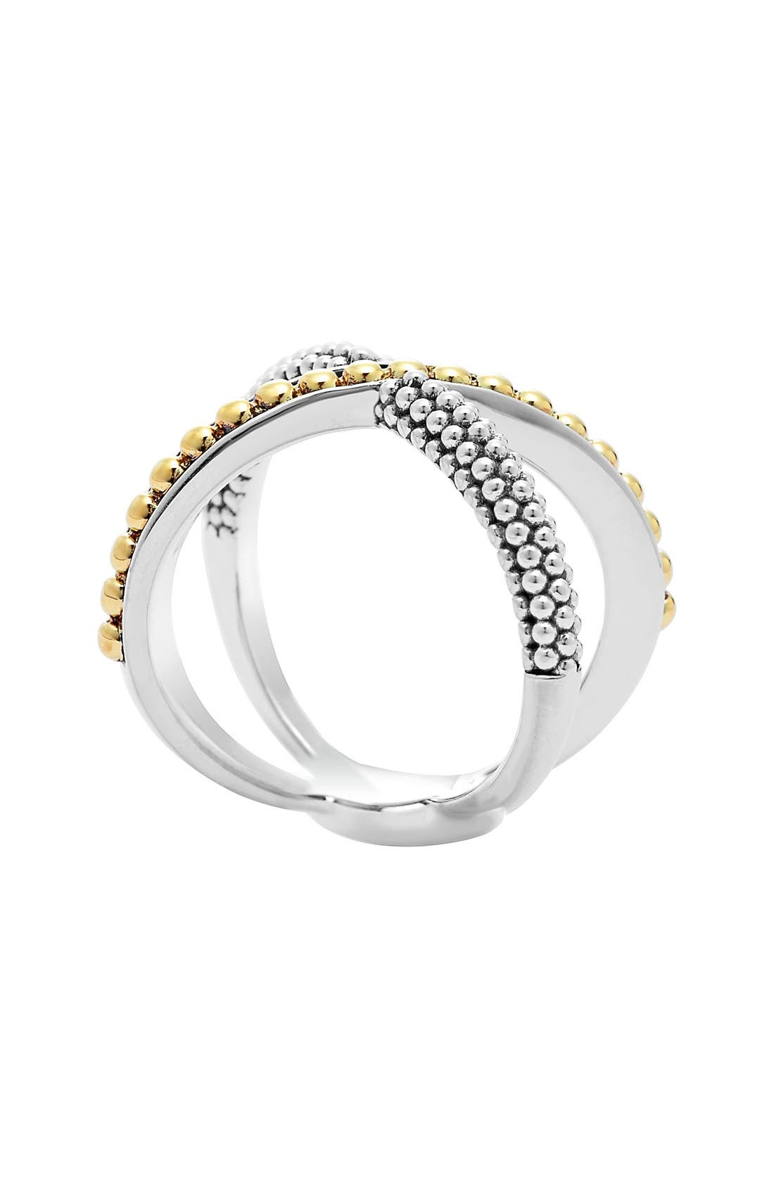 'Enso' Caviar Crossover Ring,                             Alternate thumbnail 4, color,                             SILVER/ GOLD