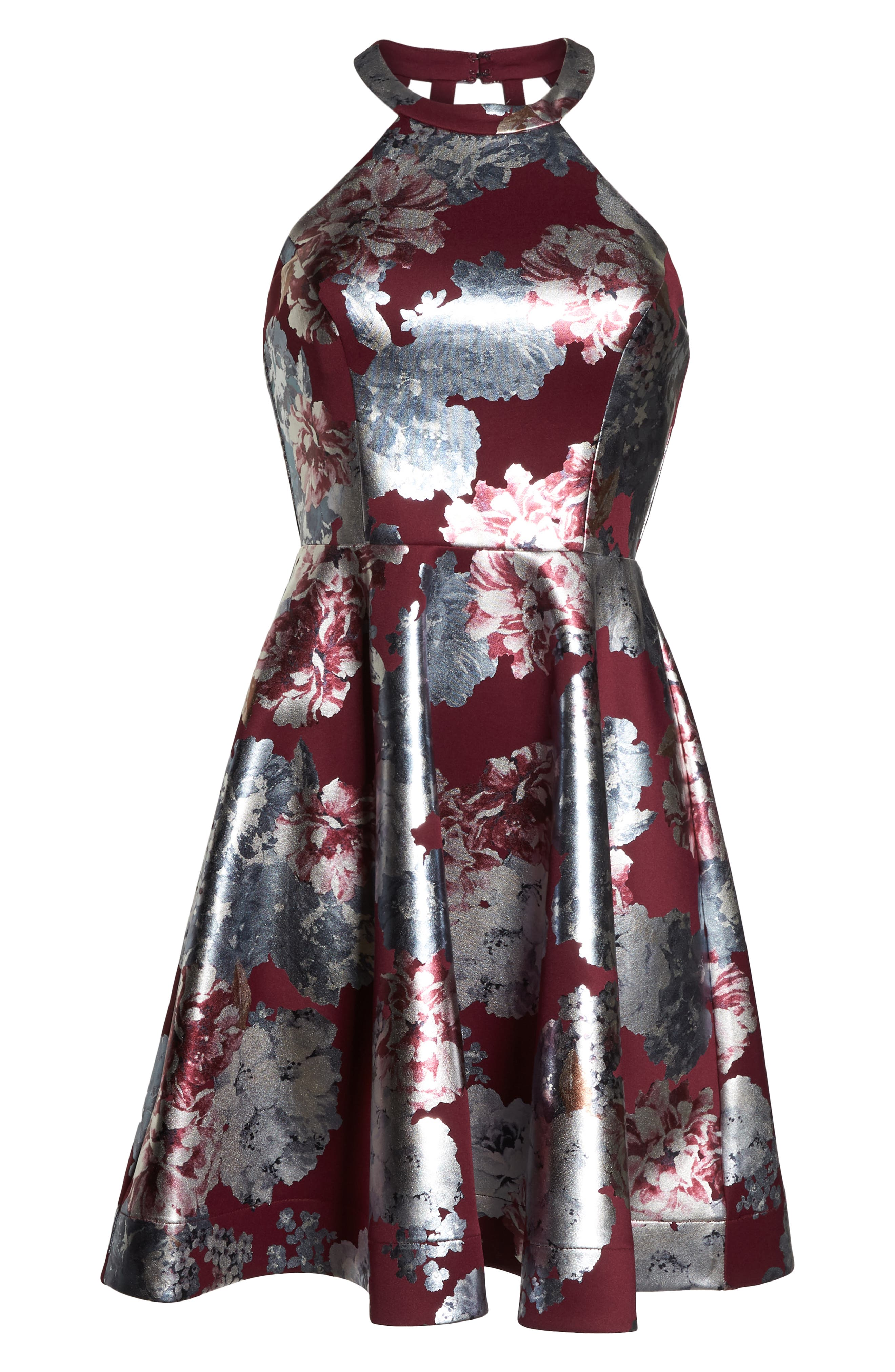 Foiled Floral Fit & Flare Dress,                             Alternate thumbnail 7, color,                             MALBEC/ SILVER