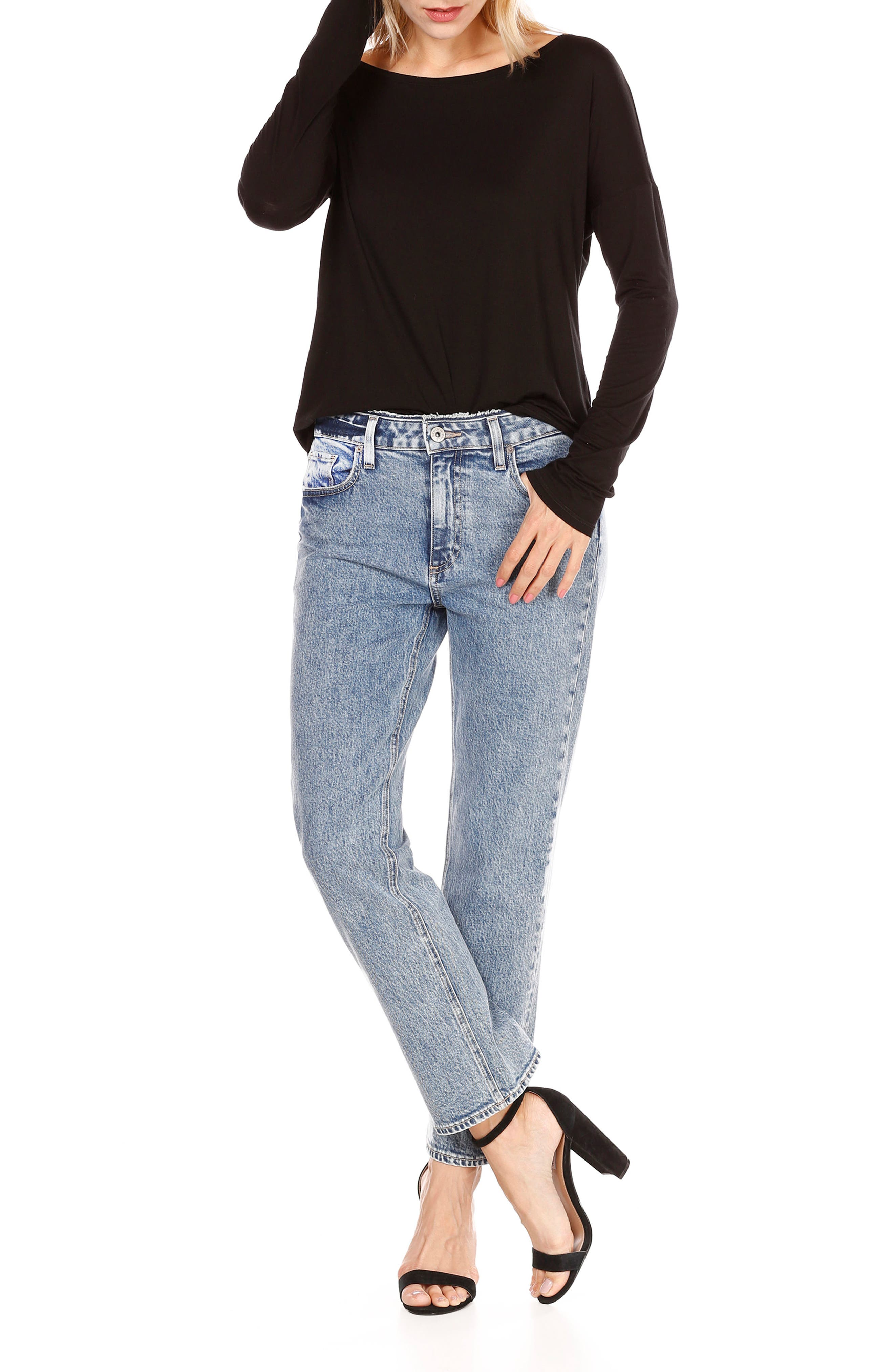 Transcend Vintage - Noella Crop Straight Leg Jeans,                             Alternate thumbnail 4, color,                             400