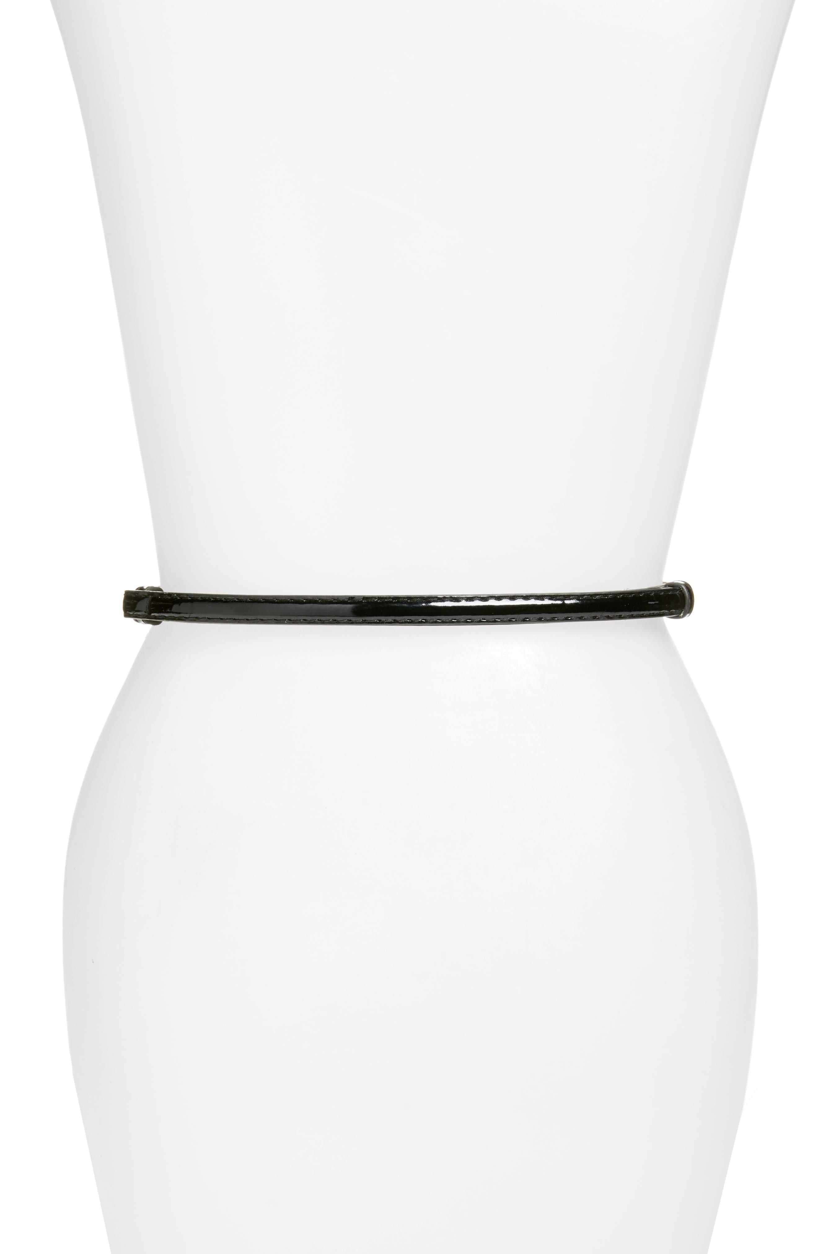 Lila Faux Patent Leather Skinny Belt,                             Alternate thumbnail 2, color,                             001