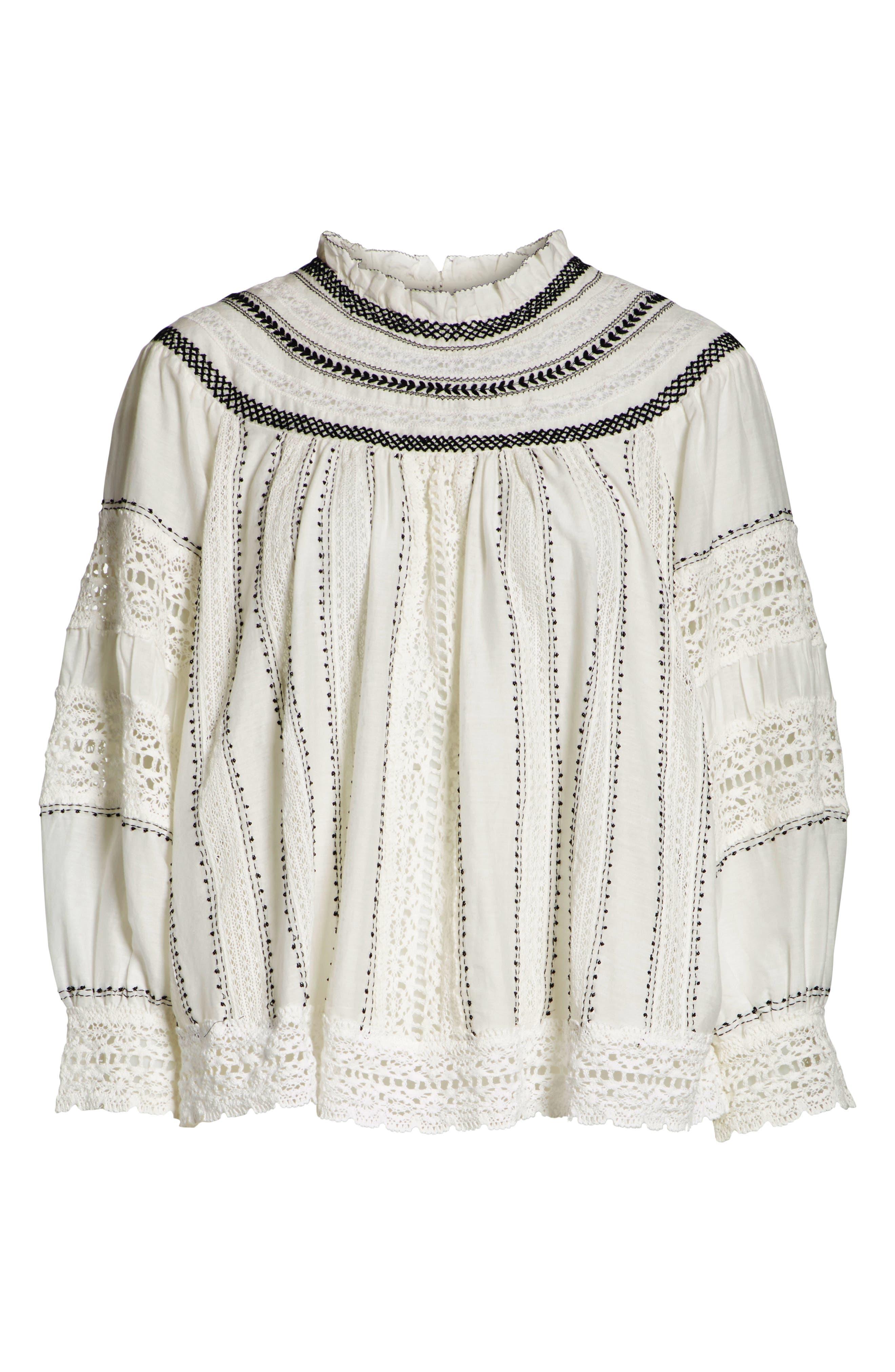 SEA,                             Louisa Crochet Peasant Top,                             Alternate thumbnail 6, color,                             902