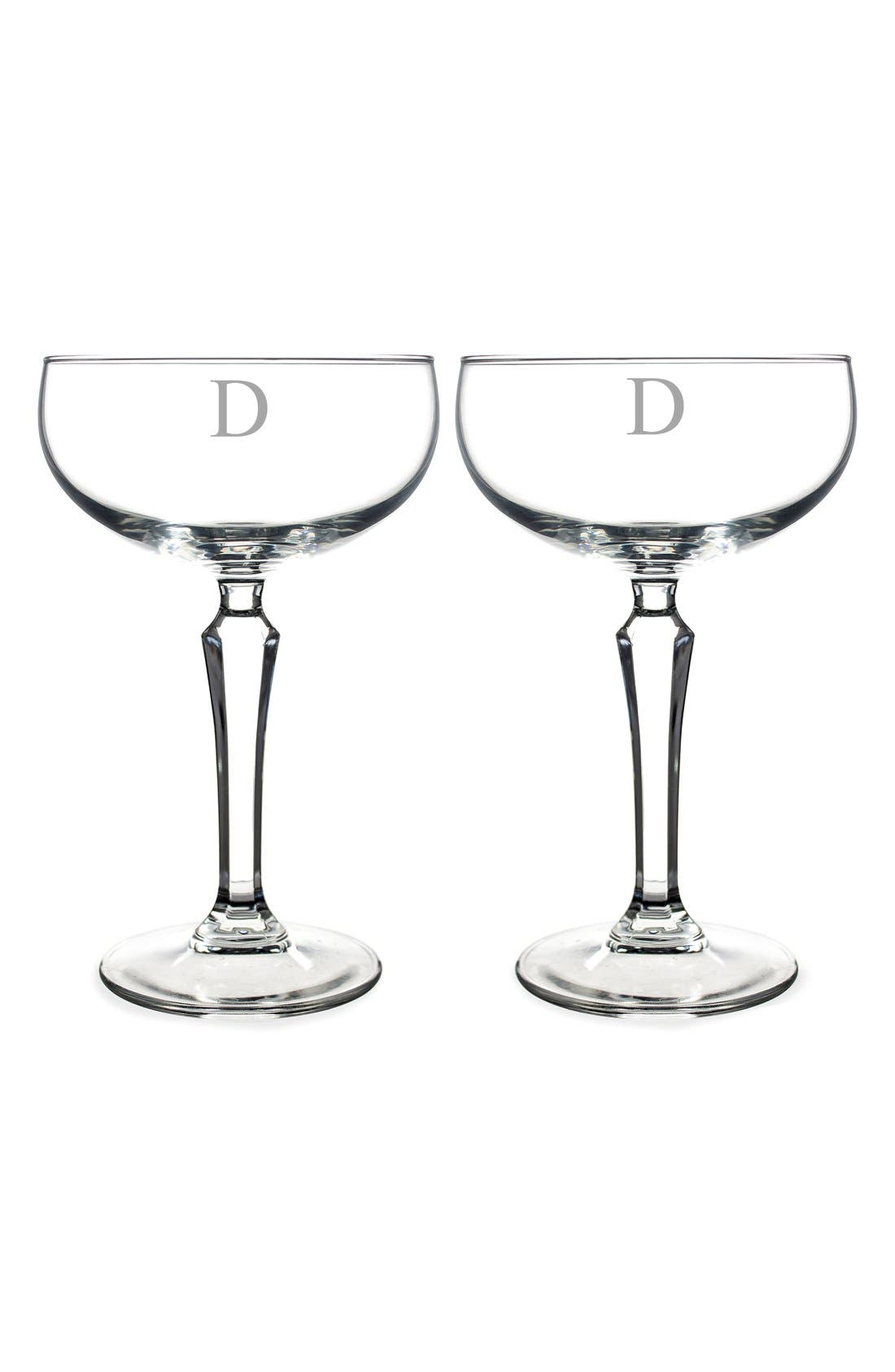 Monogram Coupe Cocktail/Champagne Glasses,                             Main thumbnail 6, color,