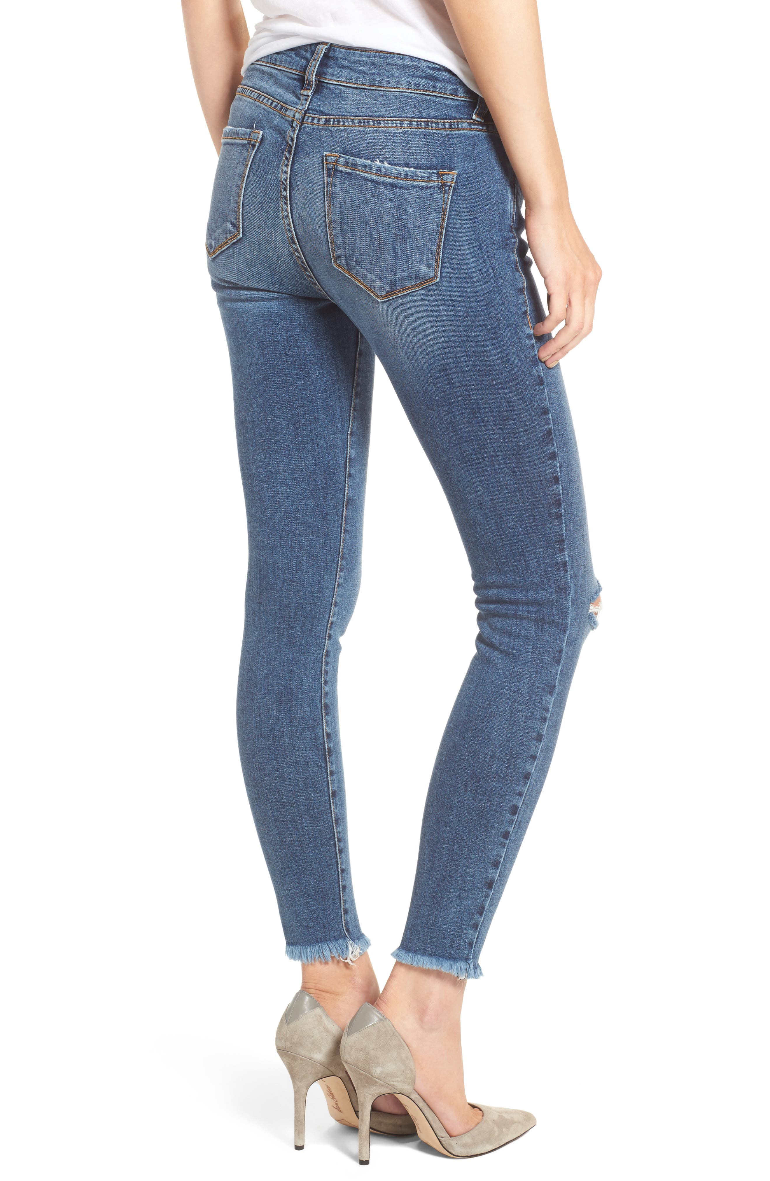 Ripped Skinny Ankle Jeans,                             Alternate thumbnail 2, color,                             400