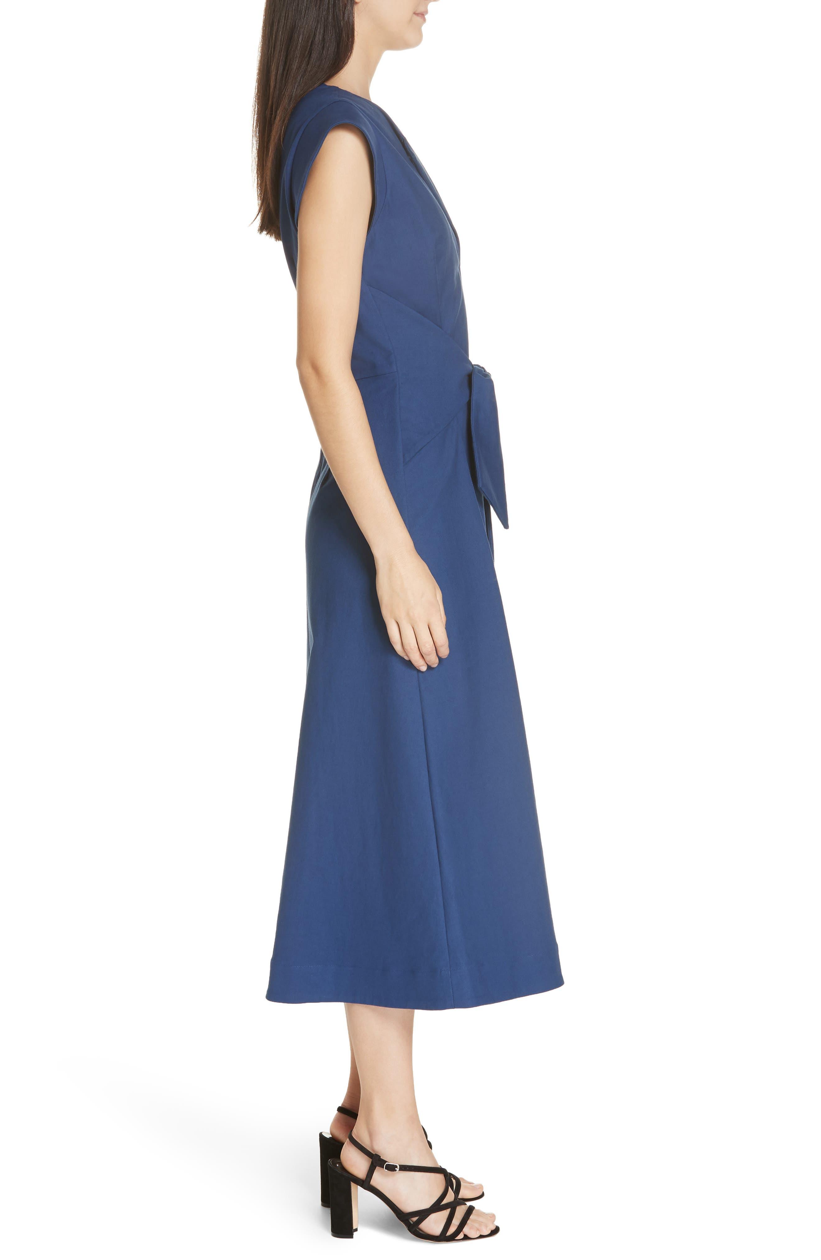 Lennox Belted Midi Dress,                             Alternate thumbnail 3, color,                             BLUE