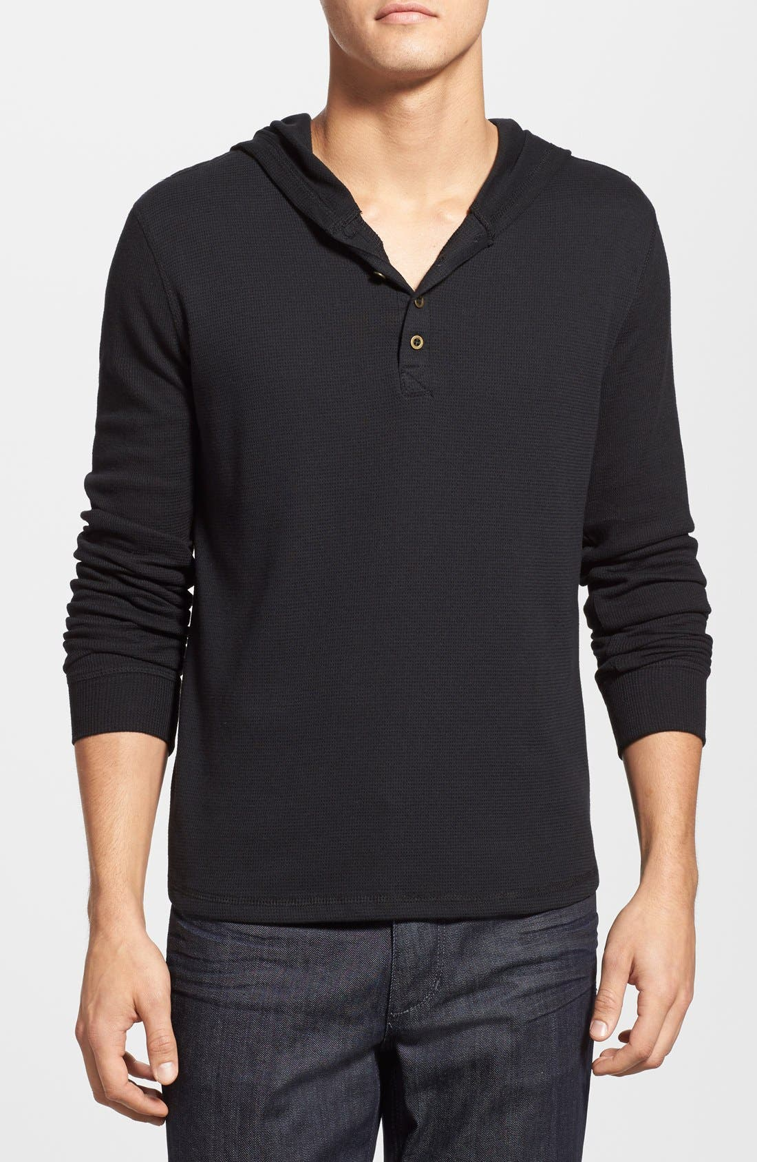 Thermal Henley Hoodie,                             Main thumbnail 1, color,                             001