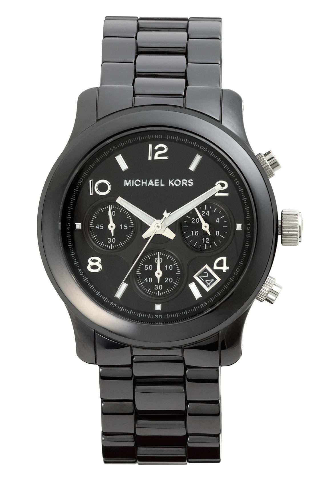 Michael Kors 'Runway Ceramic' Watch, 40mm,                             Main thumbnail 1, color,                             001
