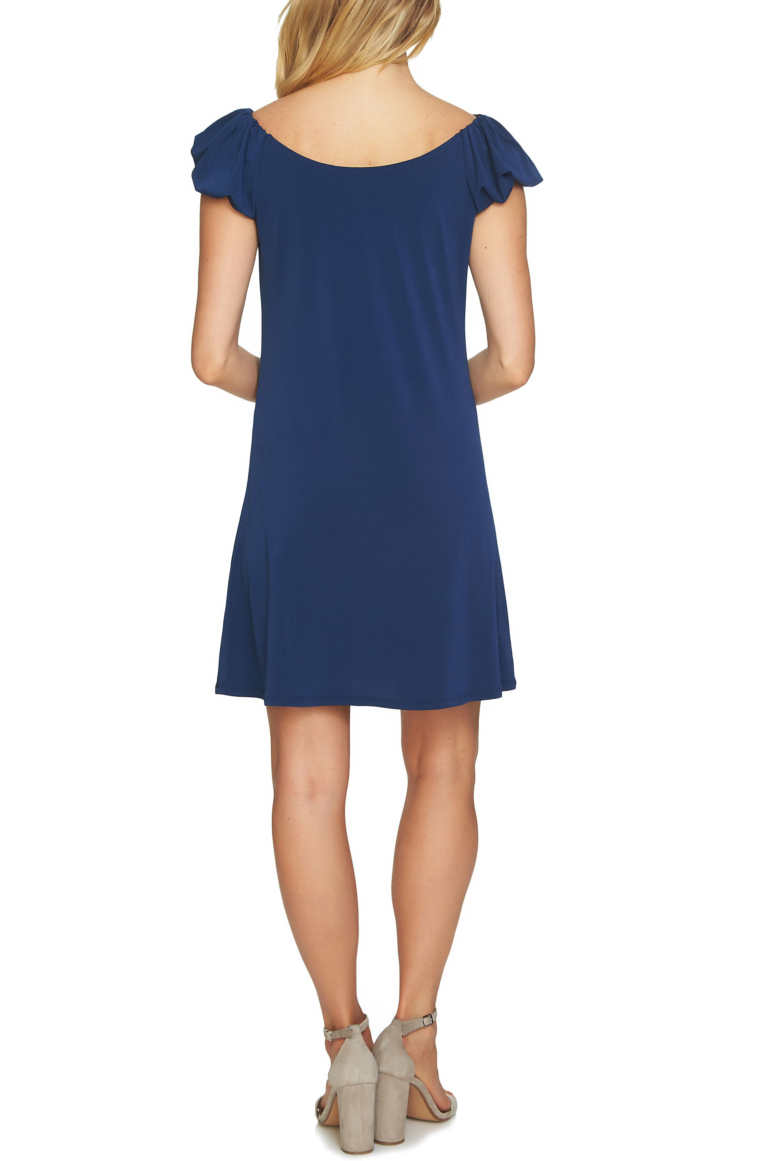 Puffed Sleeve Crepe Knit Dress,                             Alternate thumbnail 2, color,