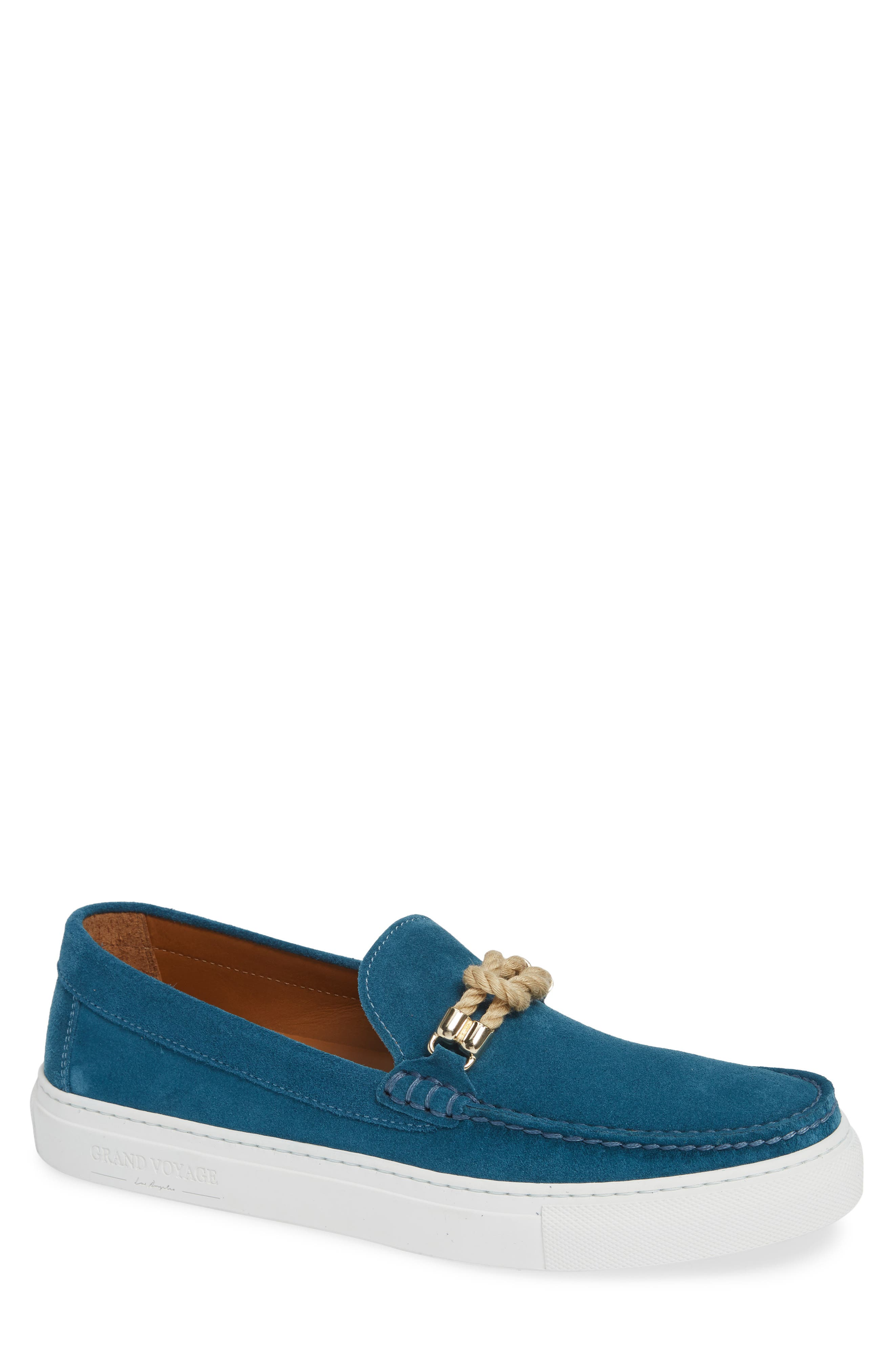 GRAND VOYAGE Britton Square Knot Loafer in Teal Suede