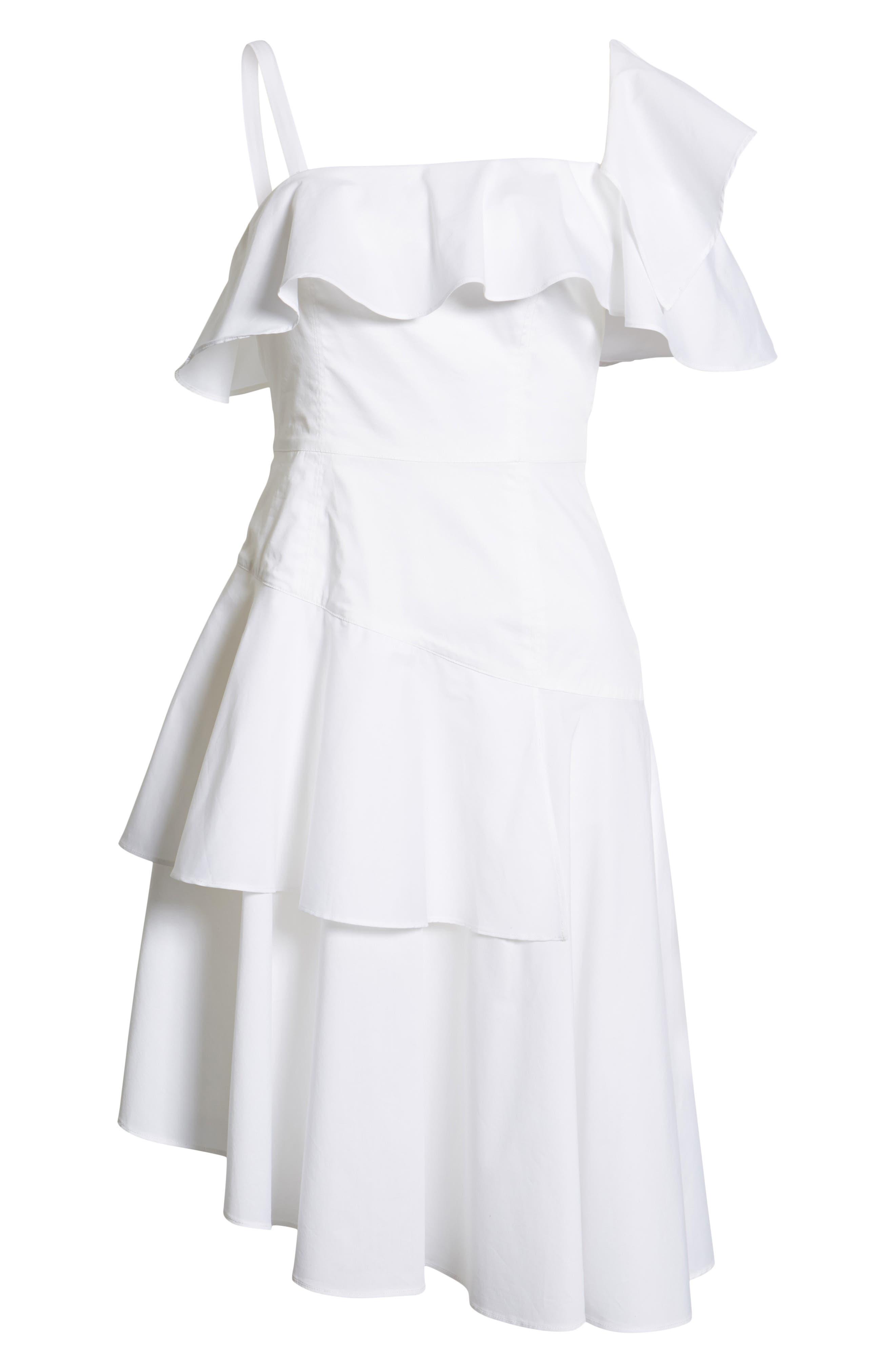 Ruffle One-Shoulder Dress,                             Alternate thumbnail 15, color,