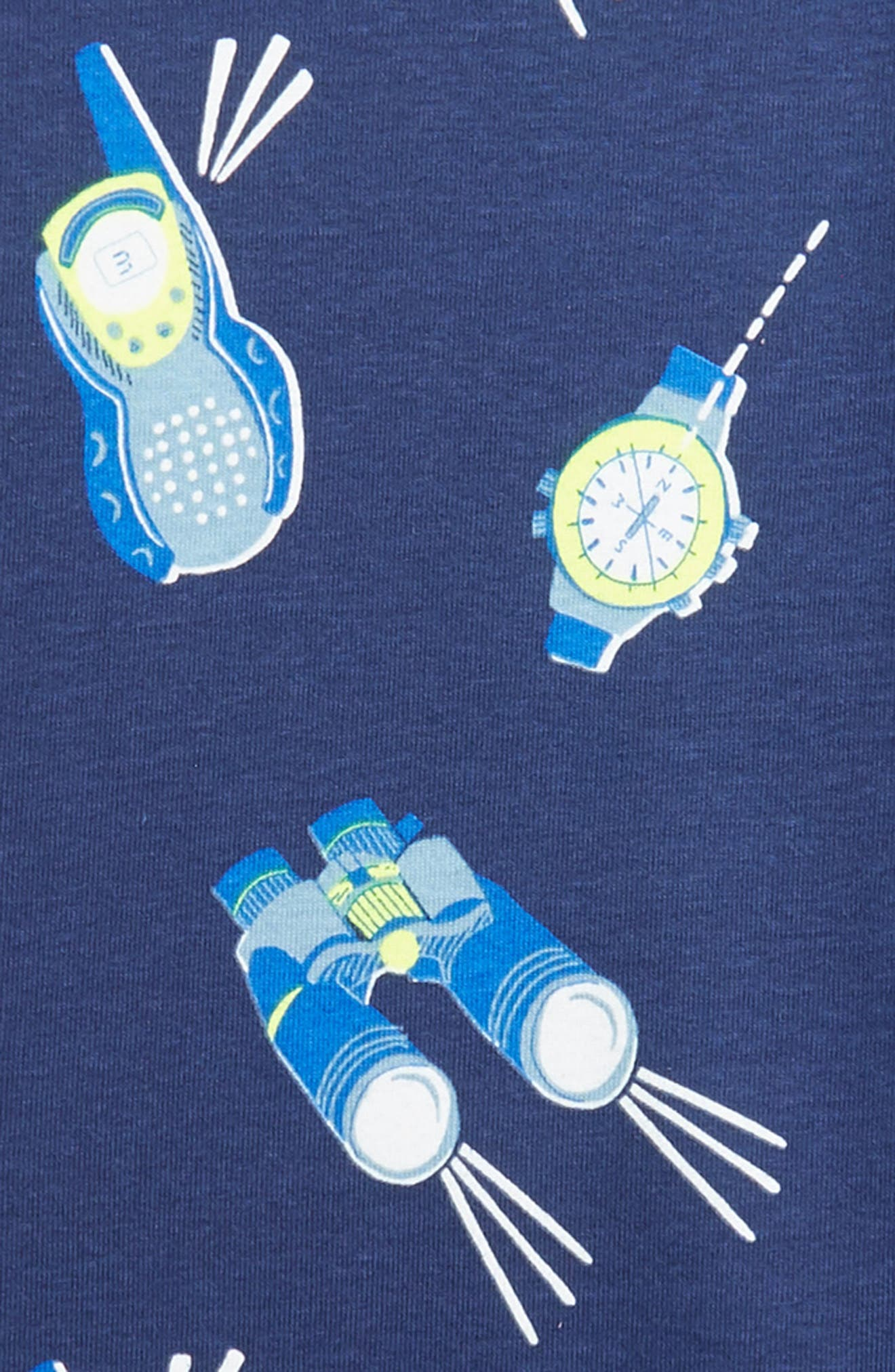 Mini Boden Glow in the Dark Fitted Two-Piece Pajamas,                             Alternate thumbnail 3, color,                             BLUE COLLEGE WALKIE TALKIE