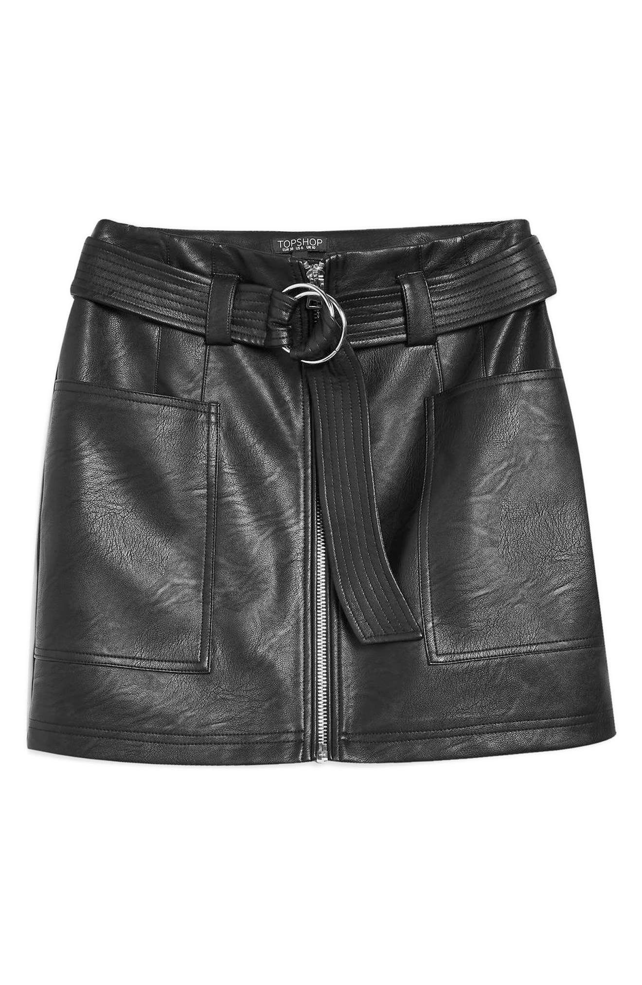 Front Zip Faux Leather Miniskirt,                             Alternate thumbnail 3, color,                             BLACK