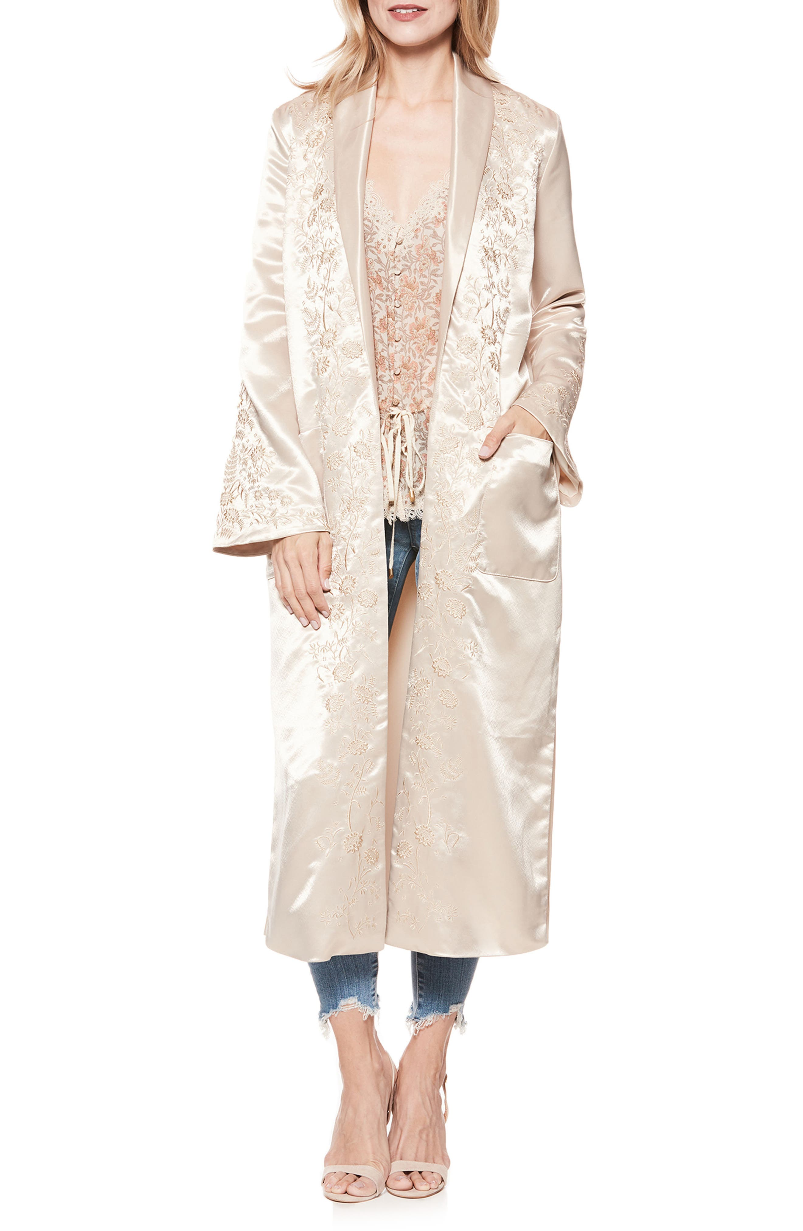 Maryella Embroidered Satin Duster,                         Main,                         color, 670