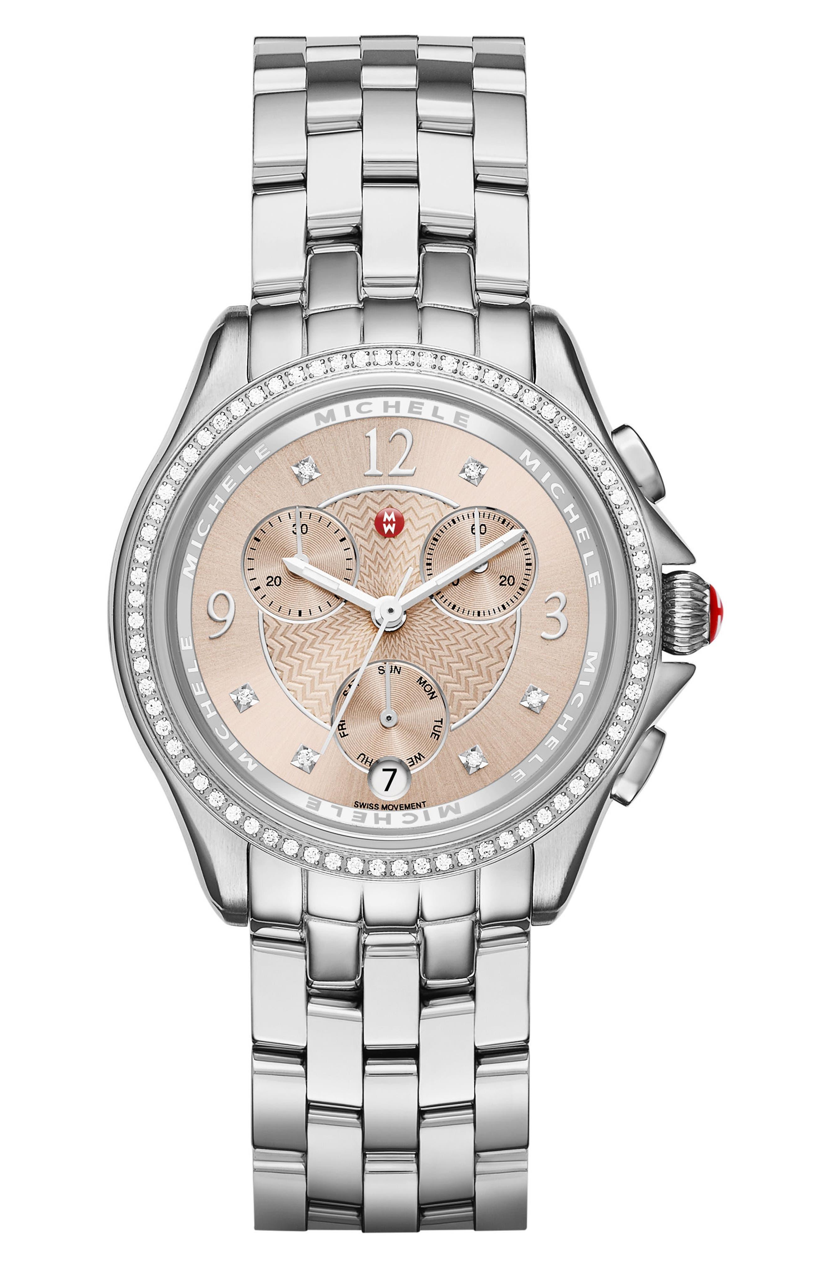 Belmore Chrono Diamond Diamond Dial Watch Case, 37mm,                         Main,                         color, 040